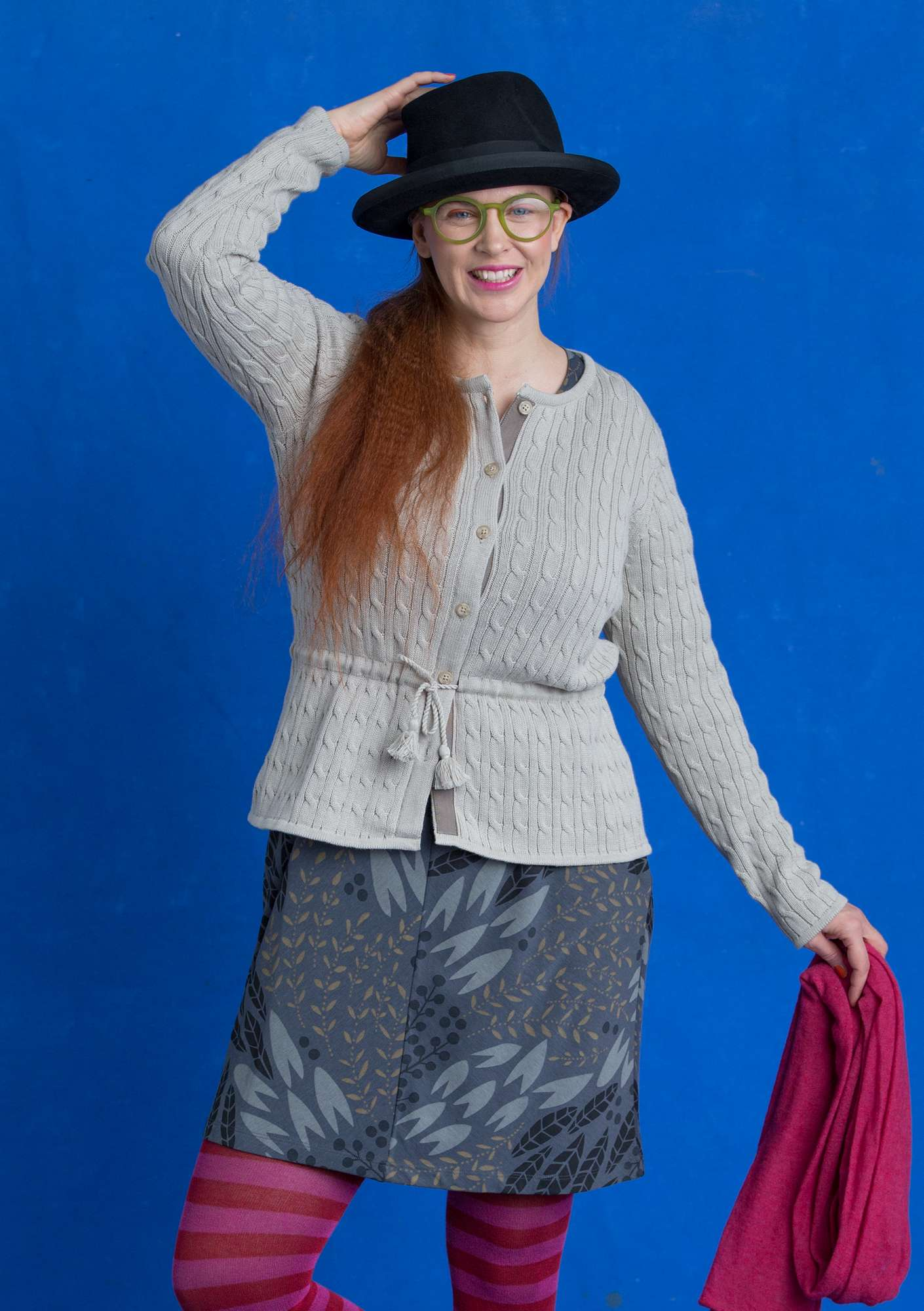 Cable-knit cardigan putty