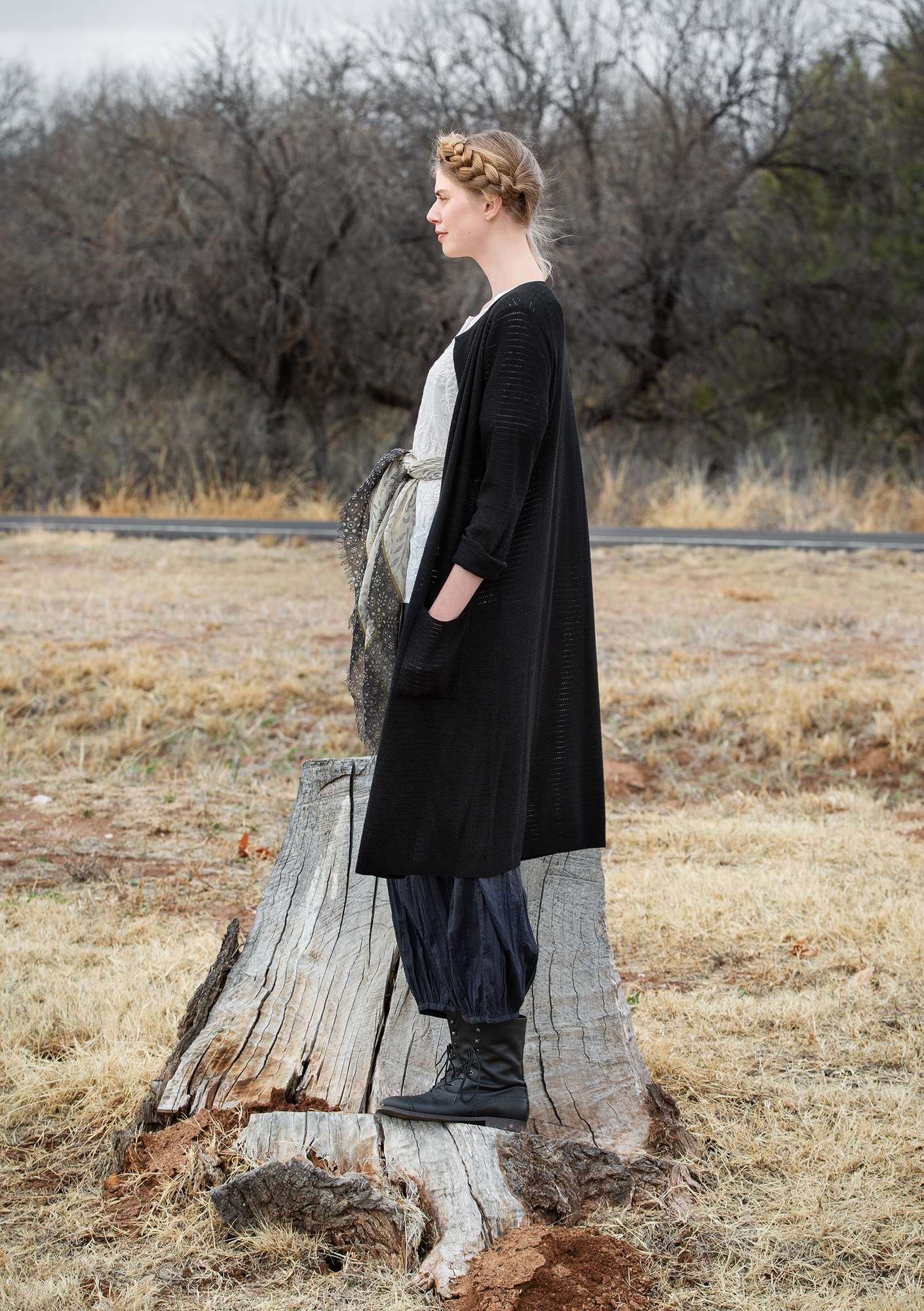 Long cardigan in organic cotton black