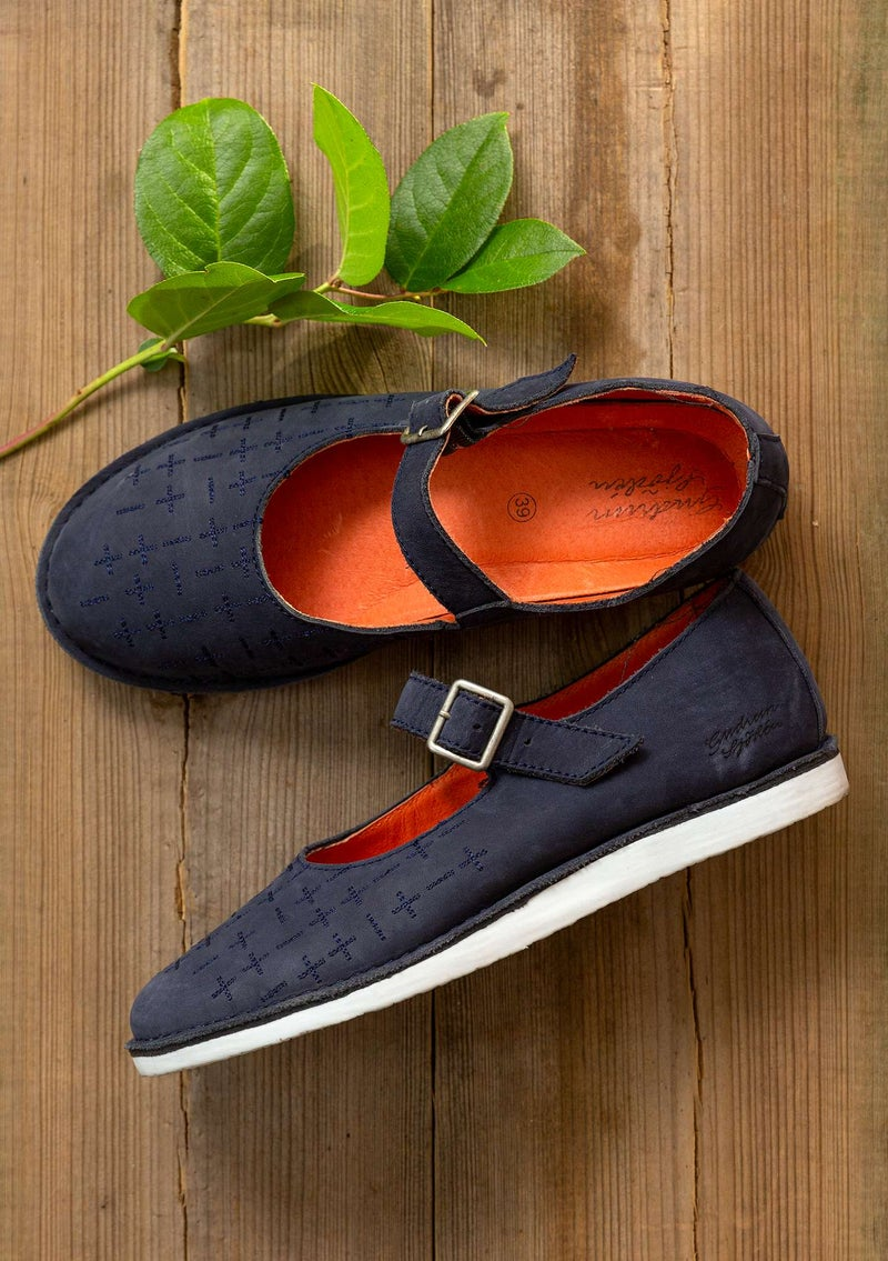 """Earth"" nubuck strap shoes ink blue"