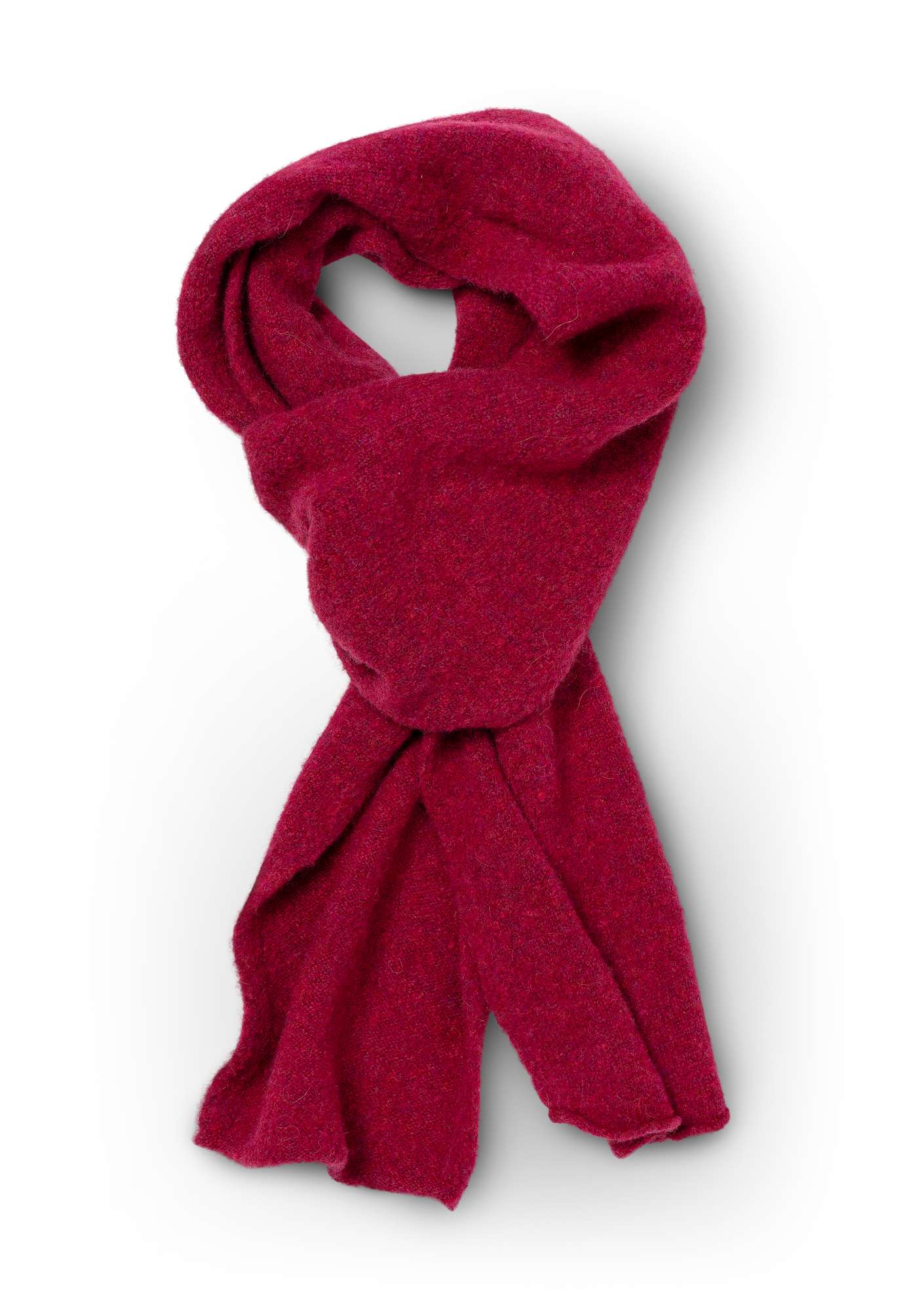 Solid-color scarf in a recycled cashmere blend dark hibiscus
