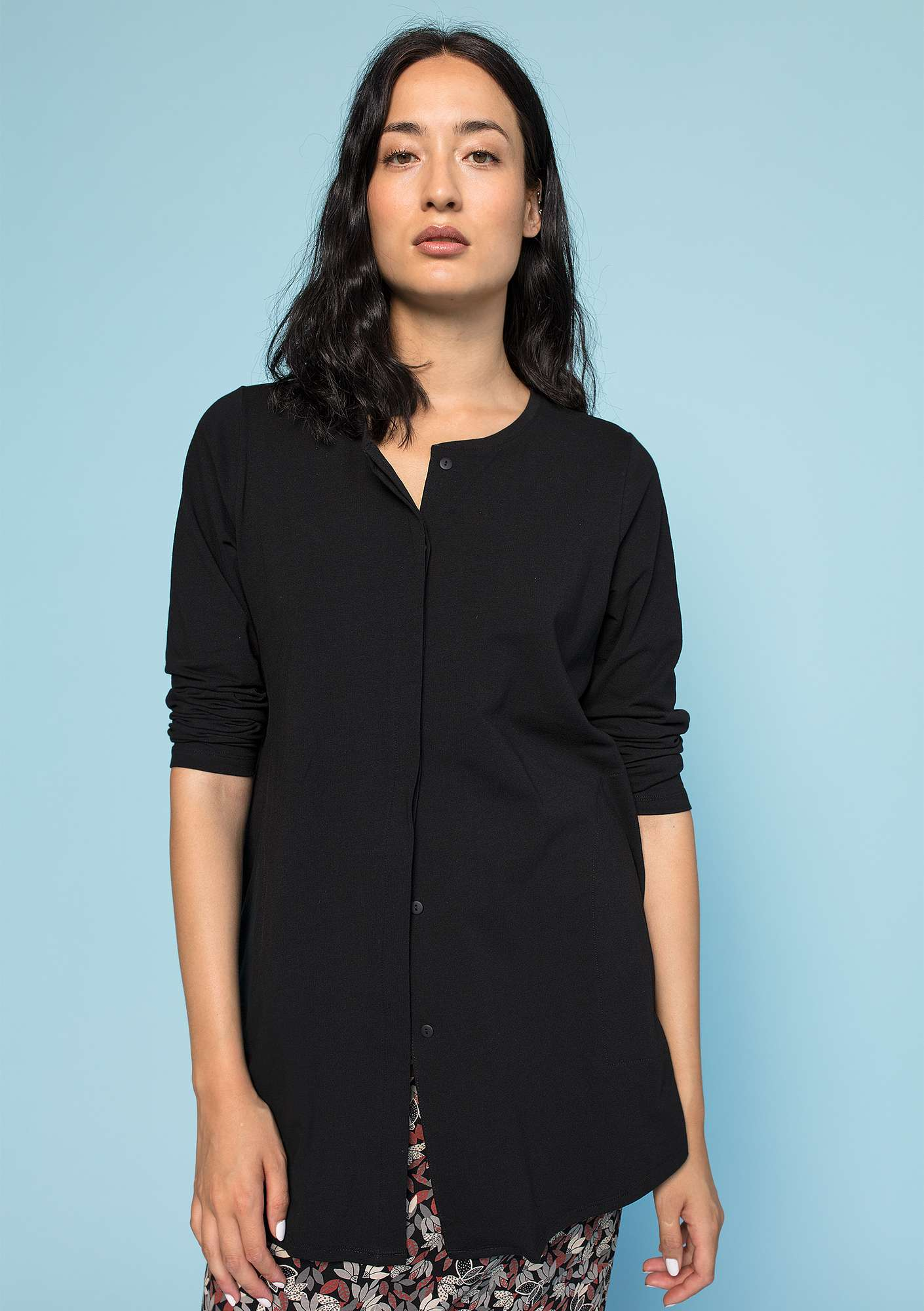 Jersey shirt in eco-cotton/spandex black