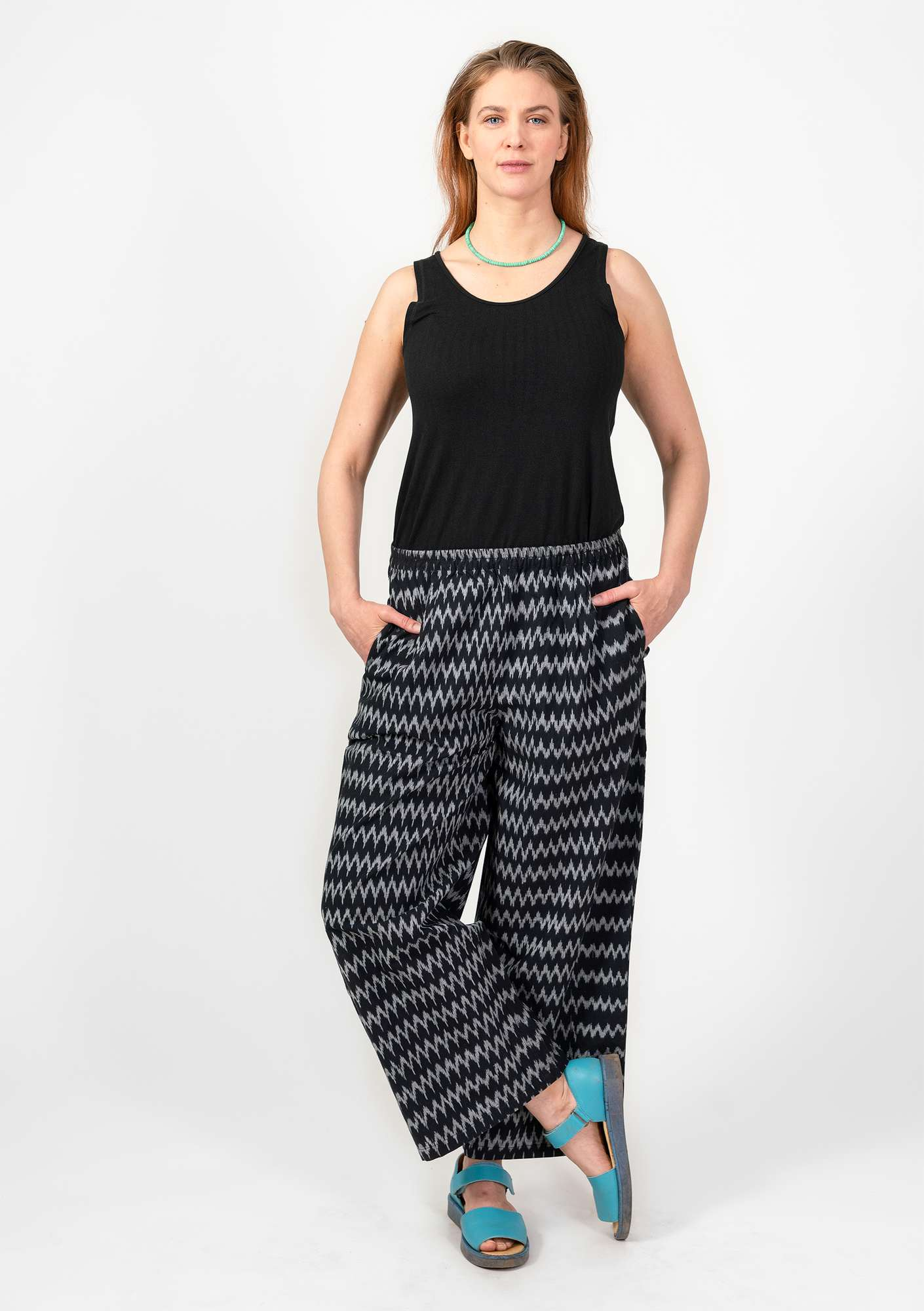 Ikat cotton trousers black