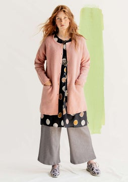 Lang cardigan uld dusky pink/solid colour