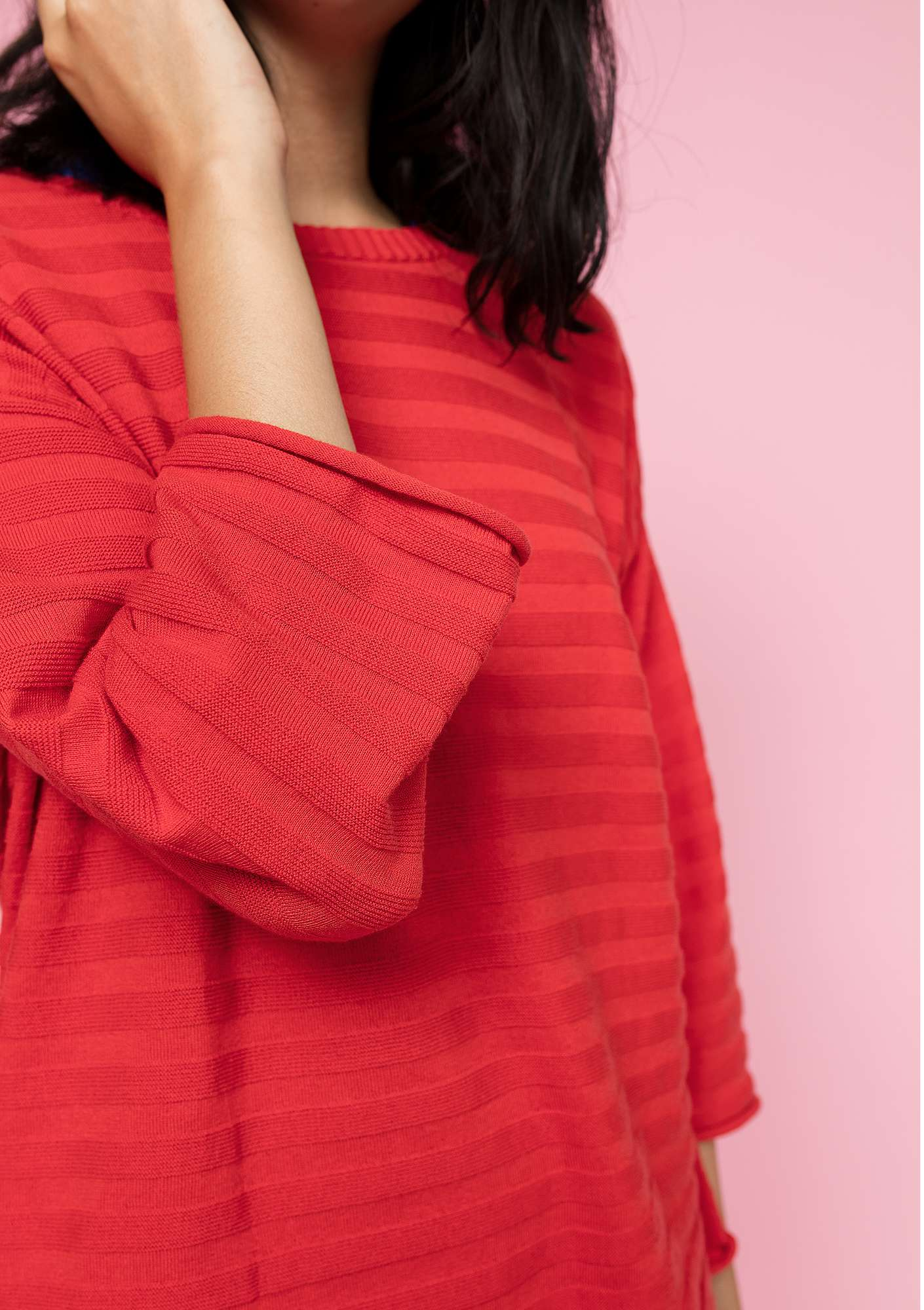 Sweater in organic cotton clear red