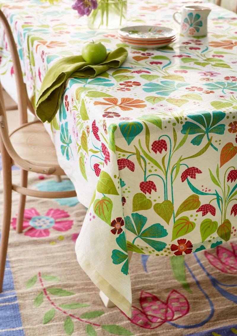 """Ängslilja"" linen tablecloth multicoloured"