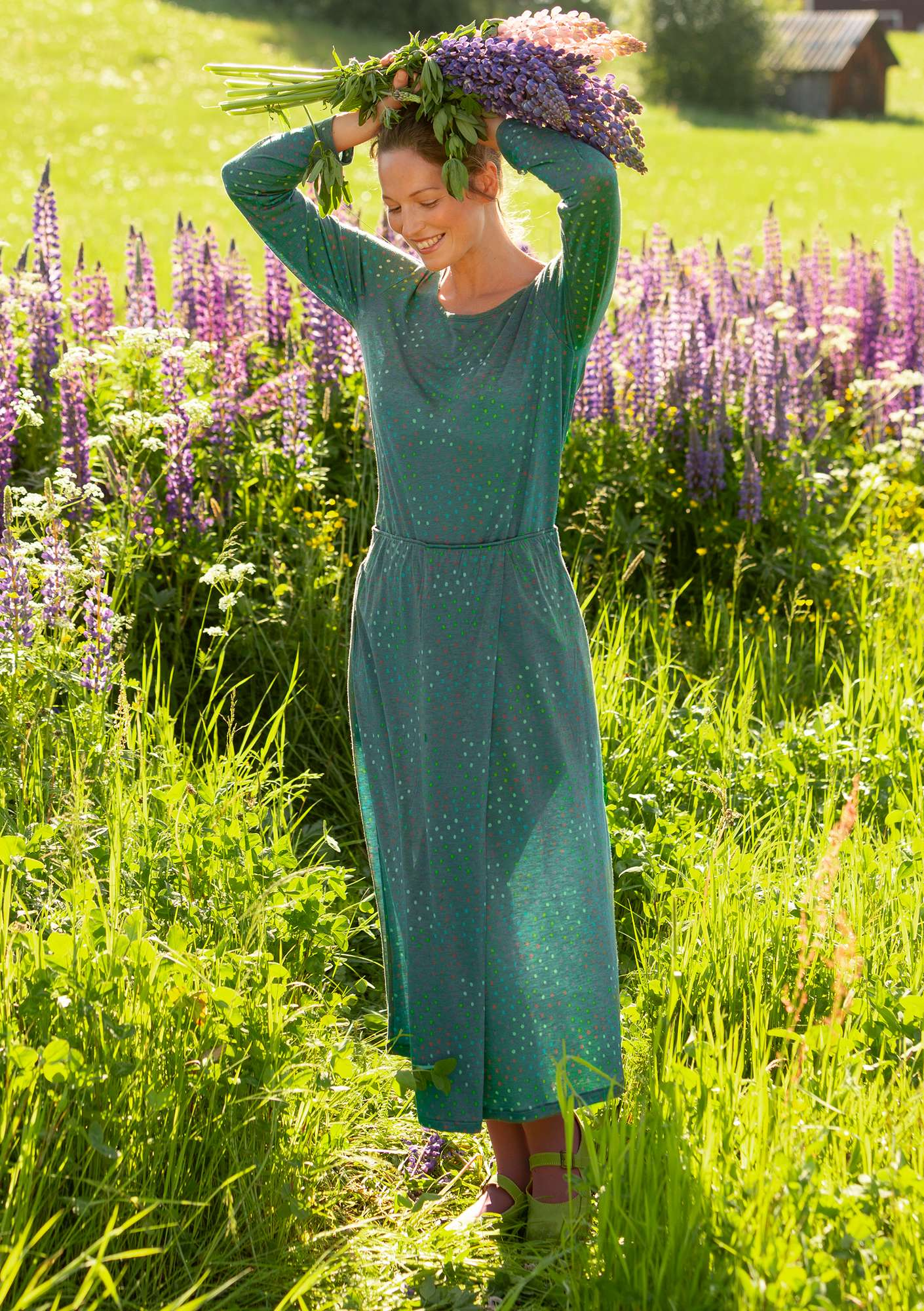 """Joy"" top in lyocell/wool opal green"