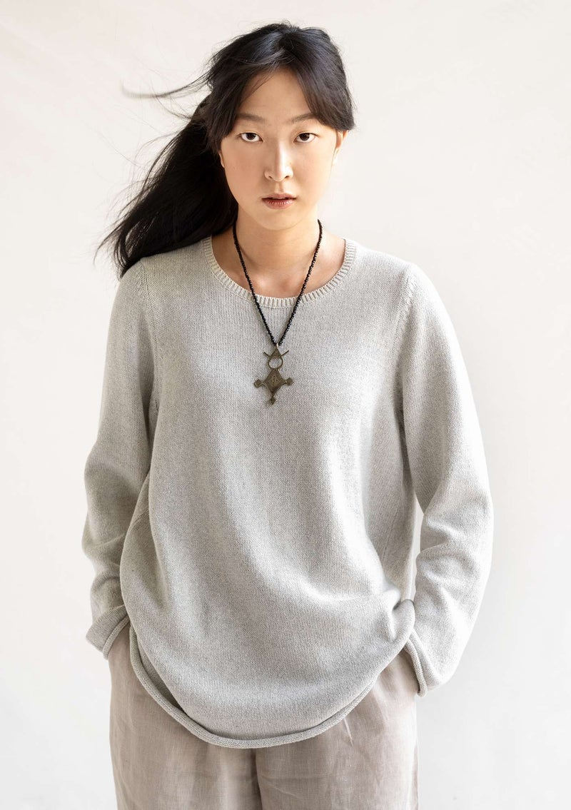 "FAVOURITE sweater ""Rita"" in recycled cotton natural melange"