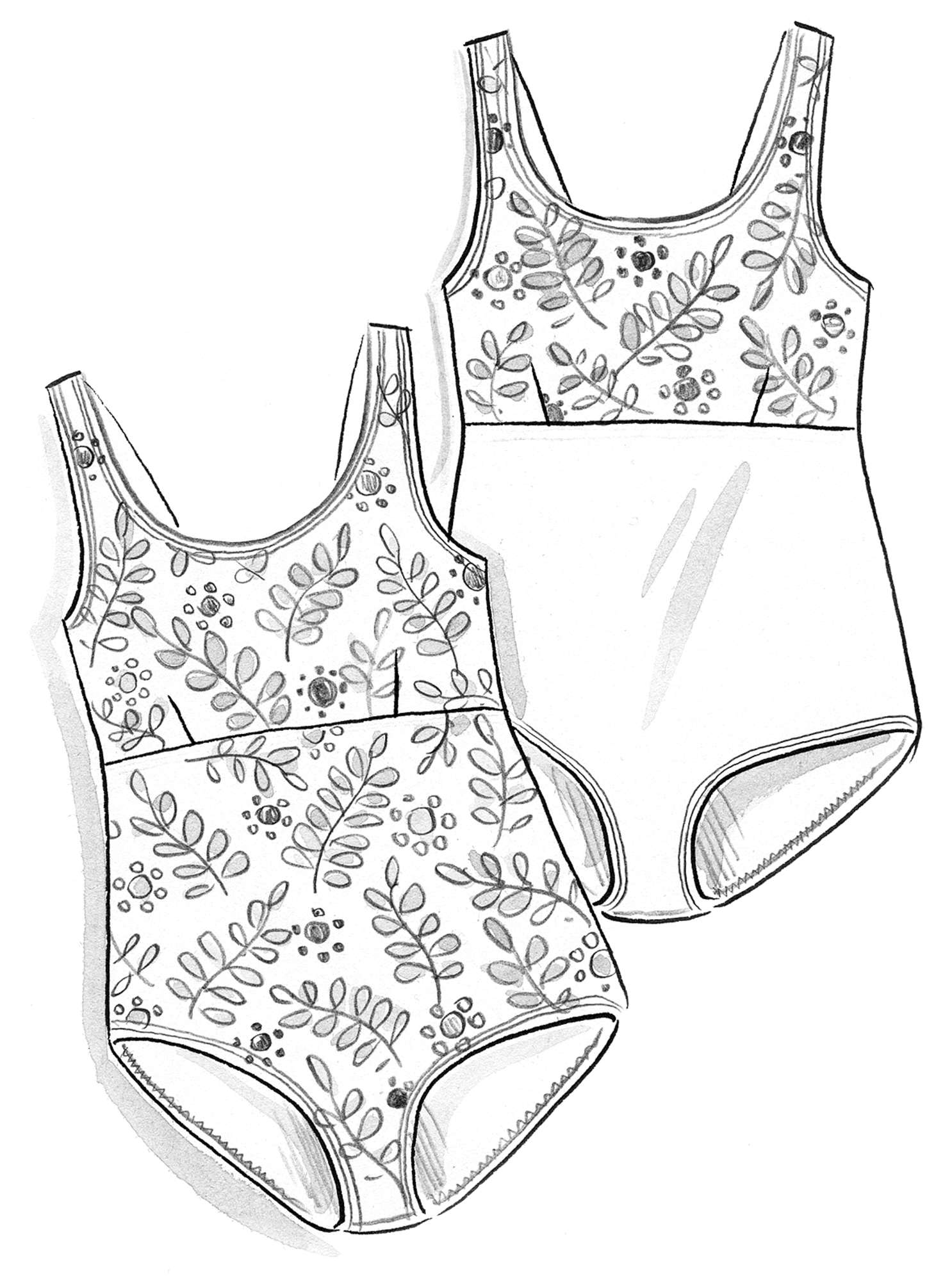 """Waterlily"" swimsuit in nylon/spandex"