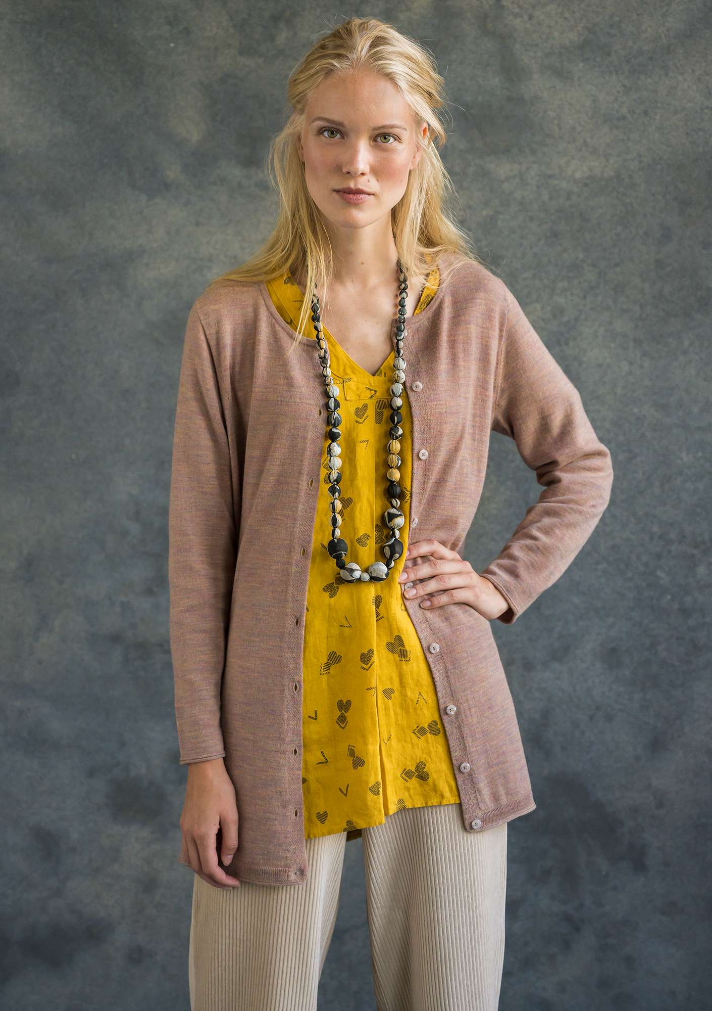Long cardigan in merino wool multi-color