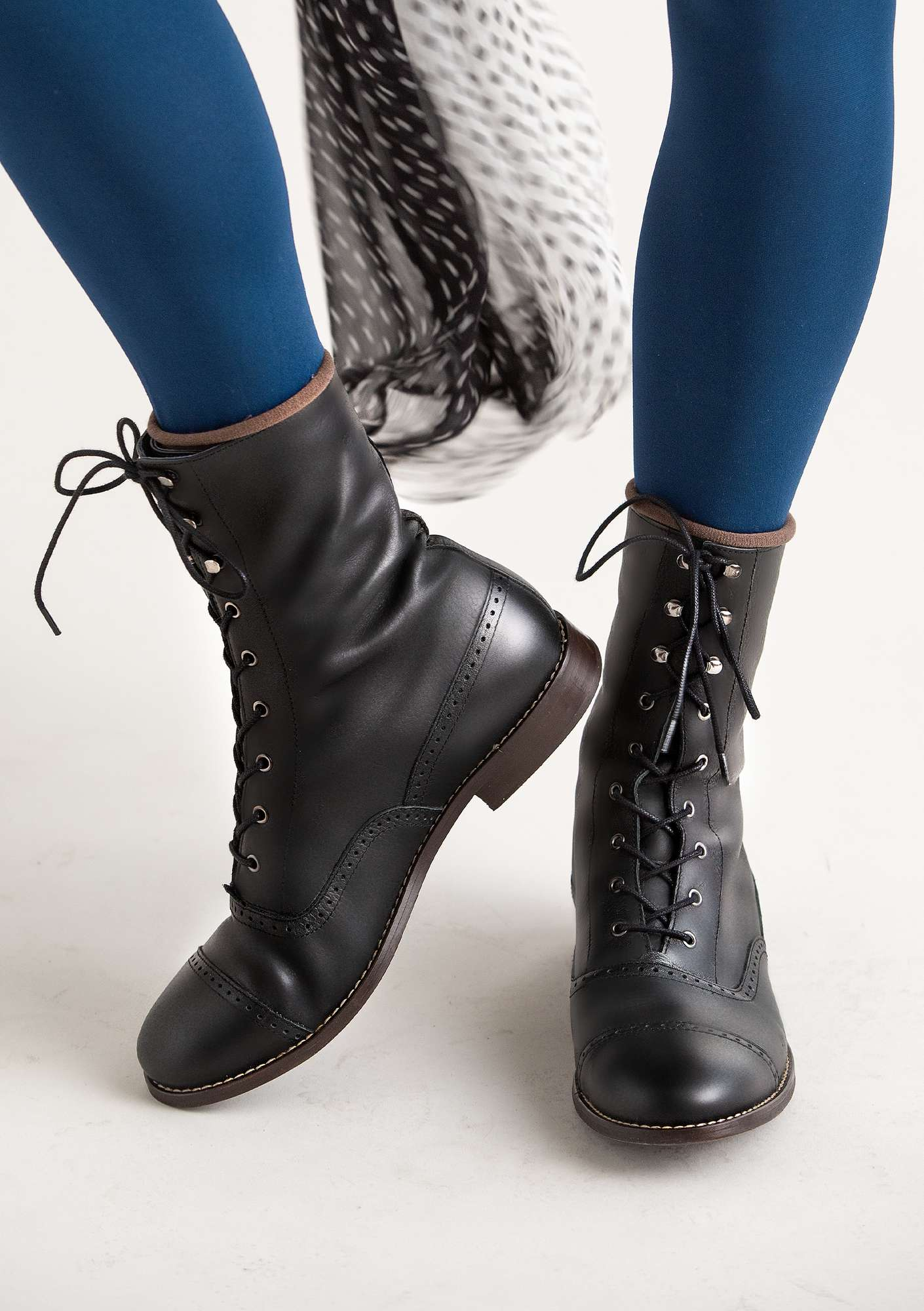 """Kristina"" lace-up nappa ankle boots black"