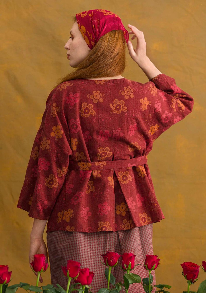 """Lindblom"" organic cotton/linen blouse jacket agate red/patterned"