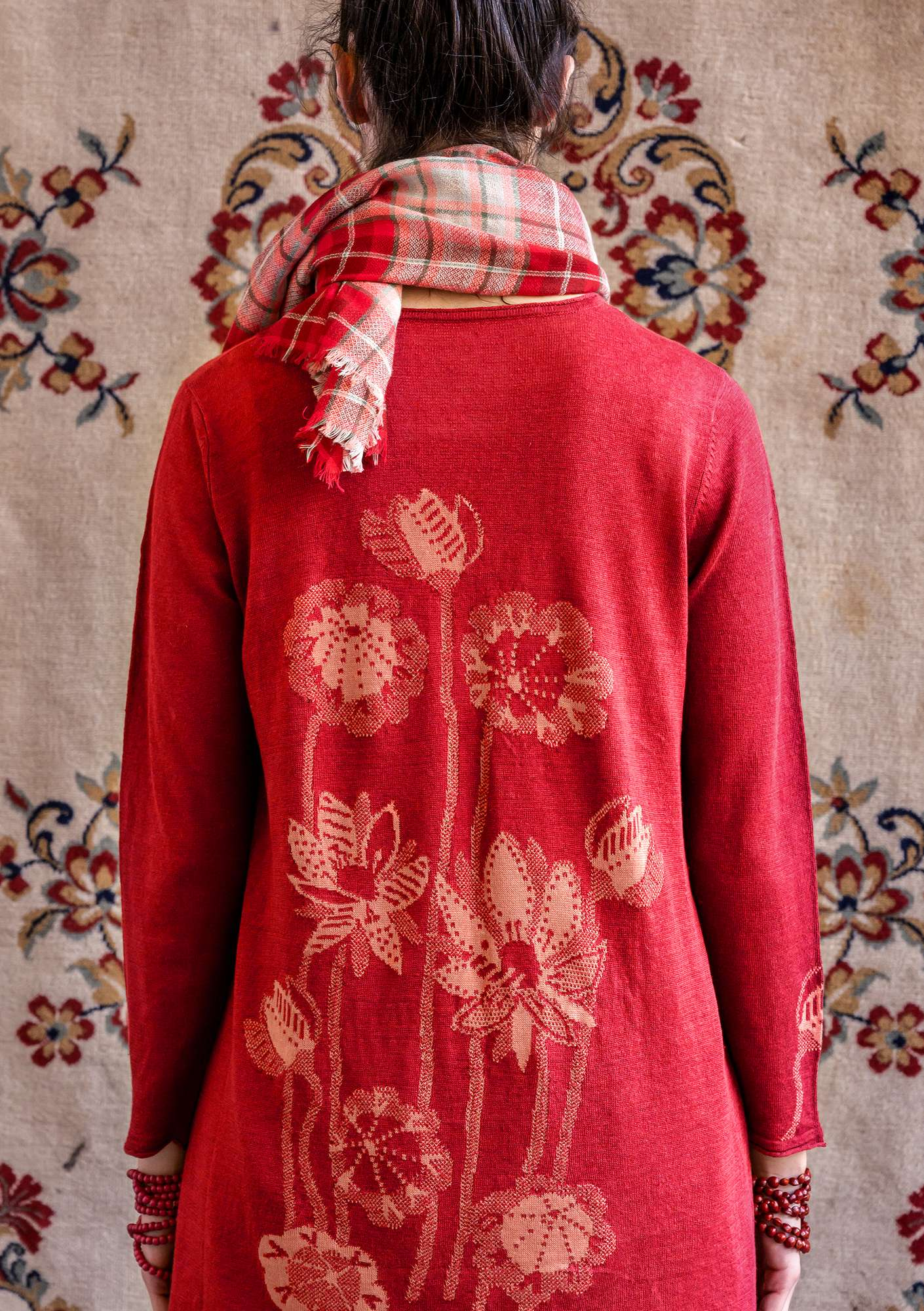 """Lotus"" tunic in linen/organic cotton wild strawberry"