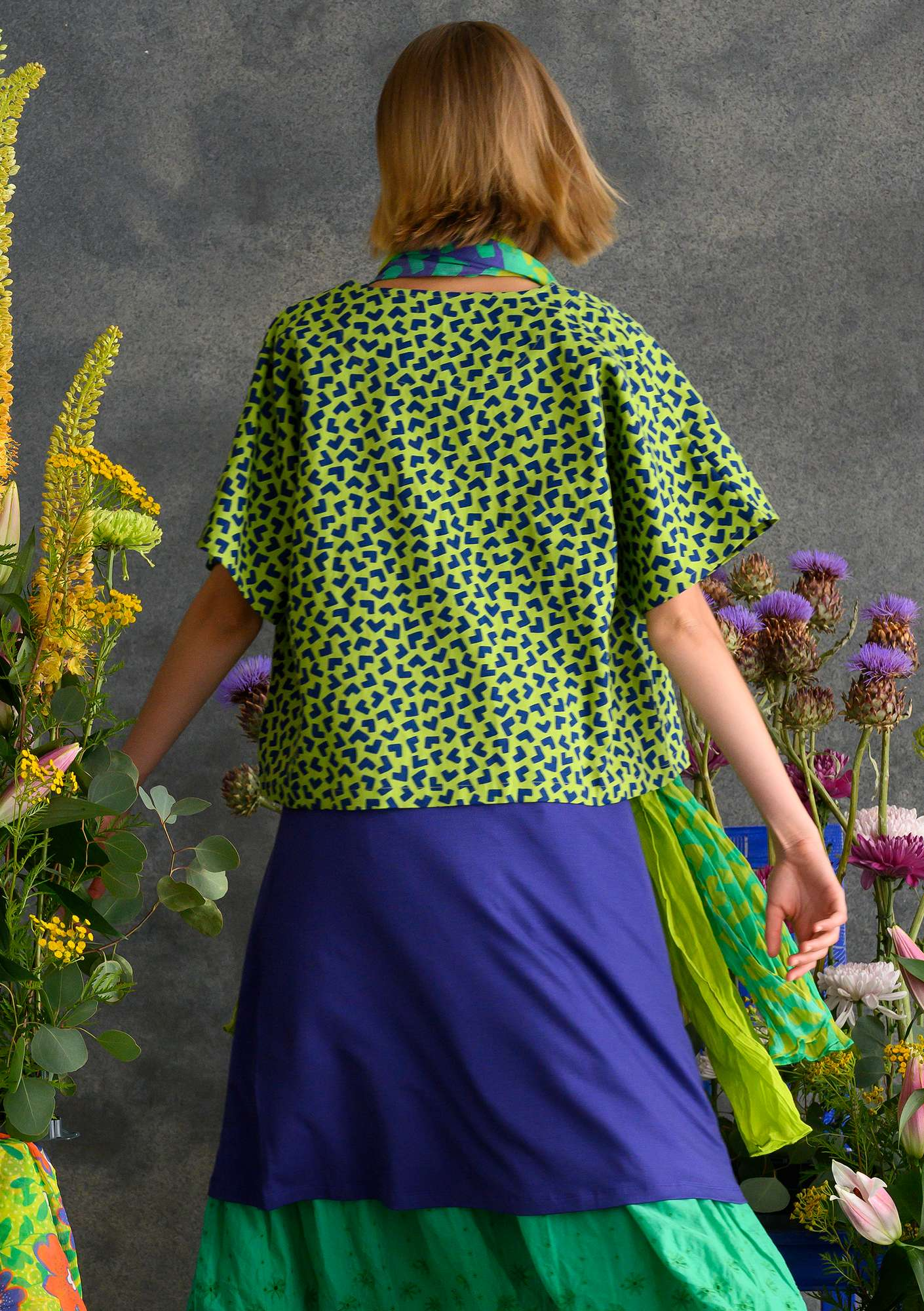 """Hake"" short shift in organic cotton/linen tropical green/patterned"