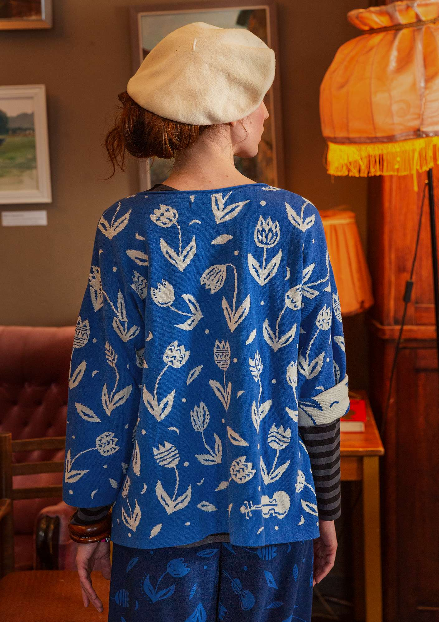 """Violin"" sweater made of recycled cotton porcelain blue"