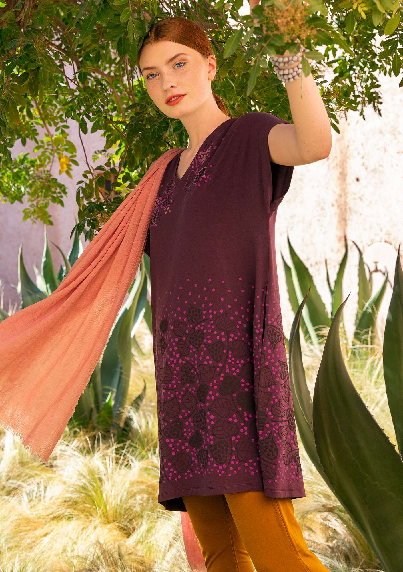 """Autumn"" tunic in lyocell/elastane beetroot"