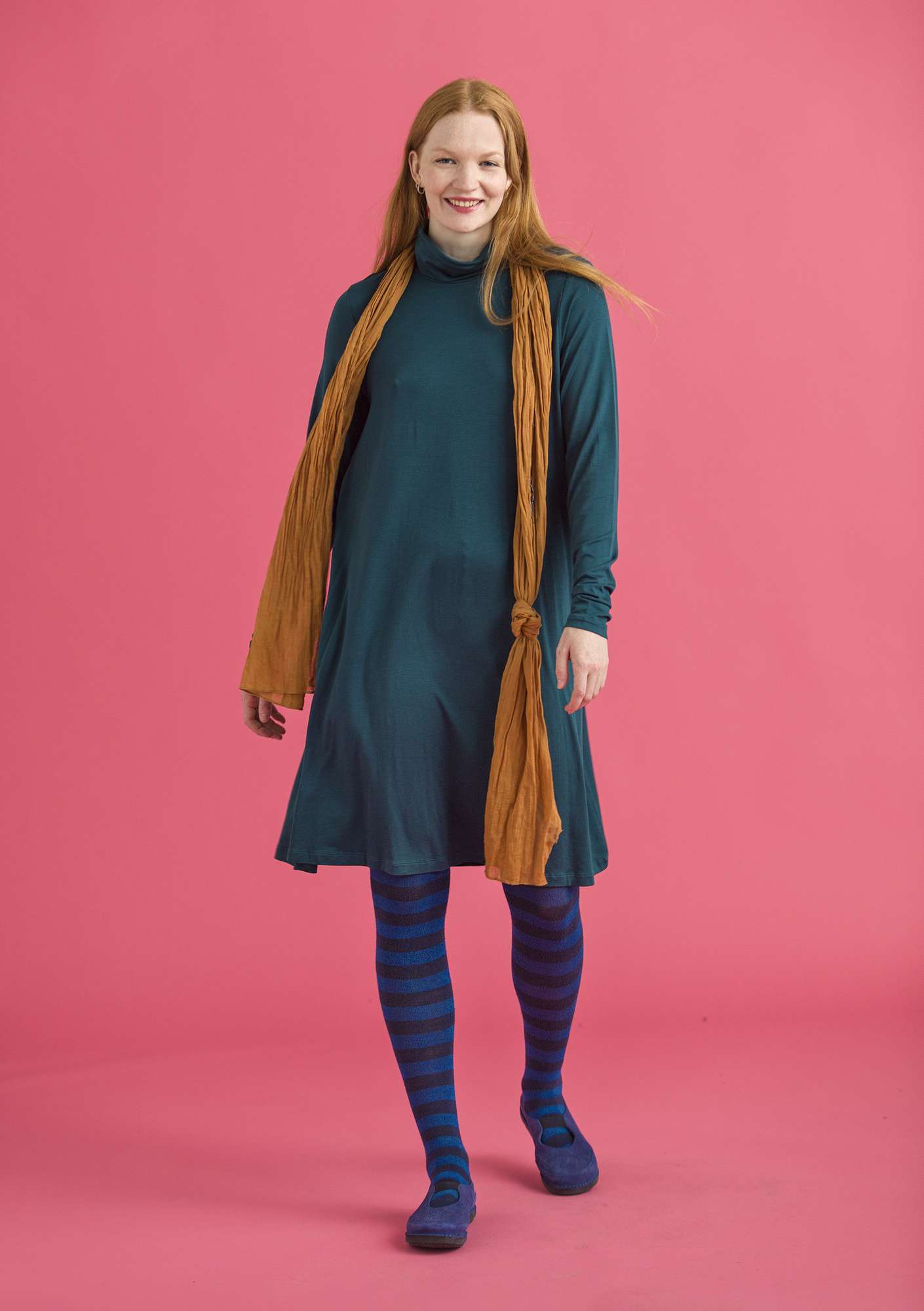 Solid-color turtleneck dress in lyocell/spandex dark petrol blue