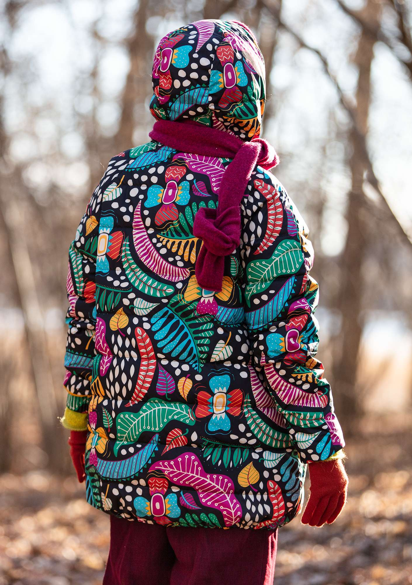 """Paradise"" down jacket made from recycled polyester pink orchid"