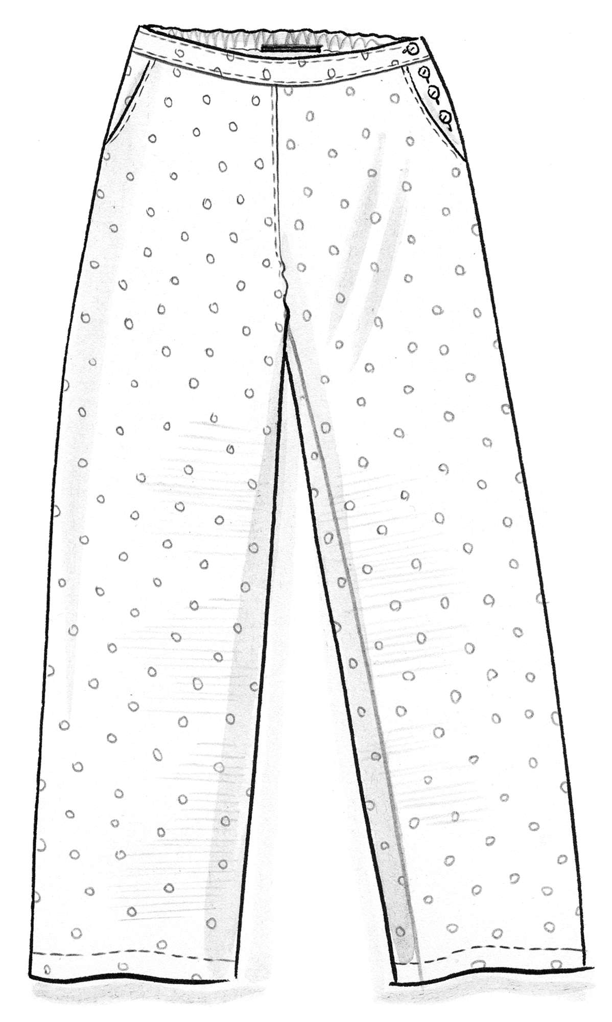 Trousers in a woven cotton/linen blend