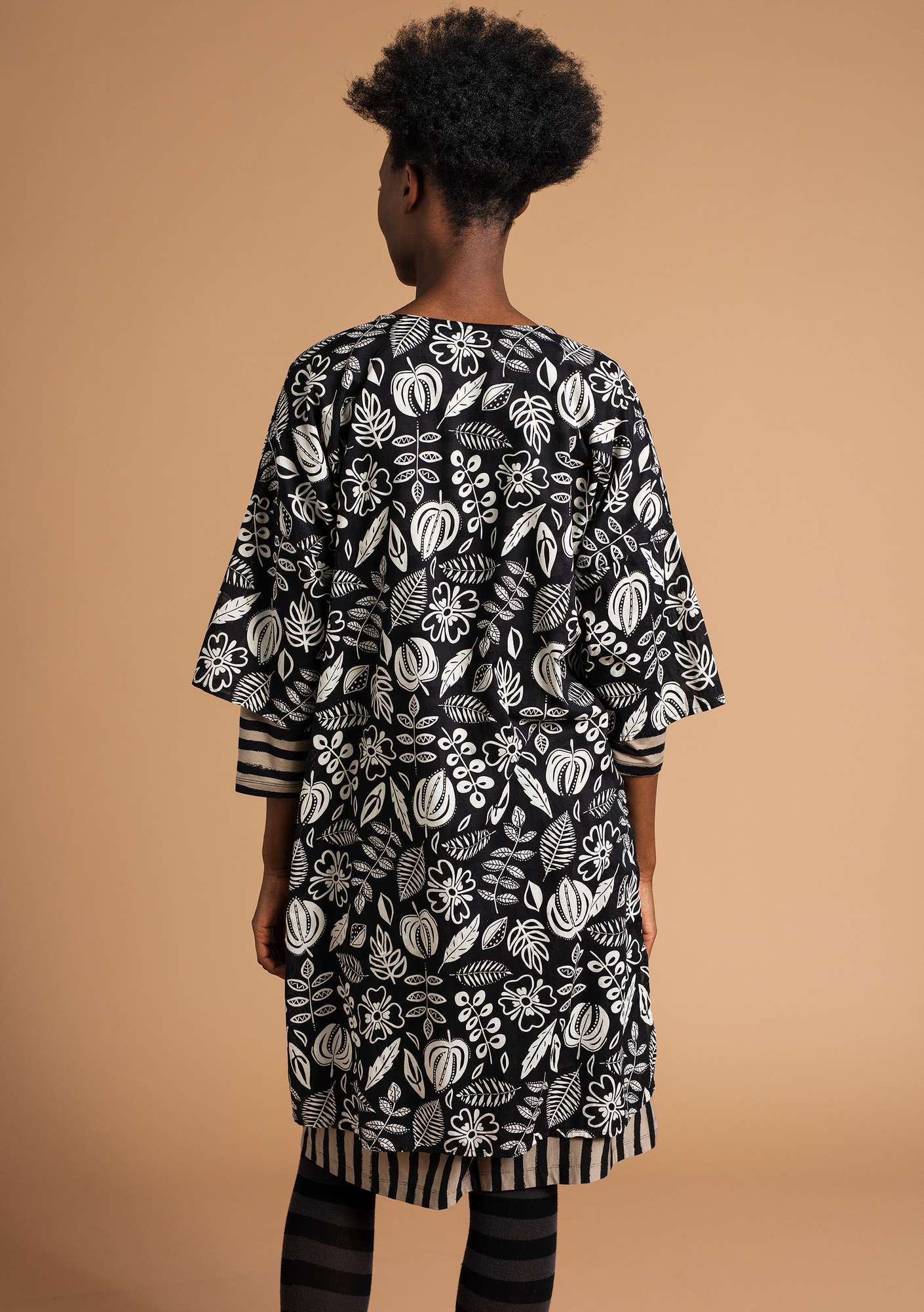 """Rigmor"" organic cotton dress black/patterned"