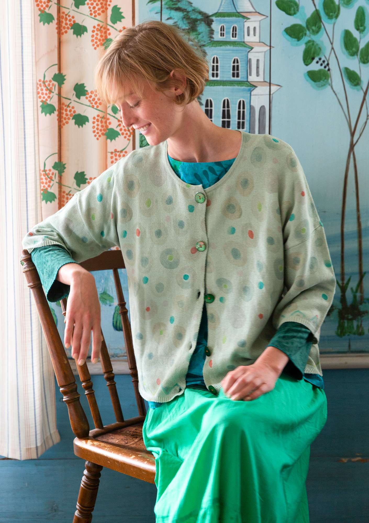 """Pigment"" cardigan made of eco-cotton/recycled cotton sea green"