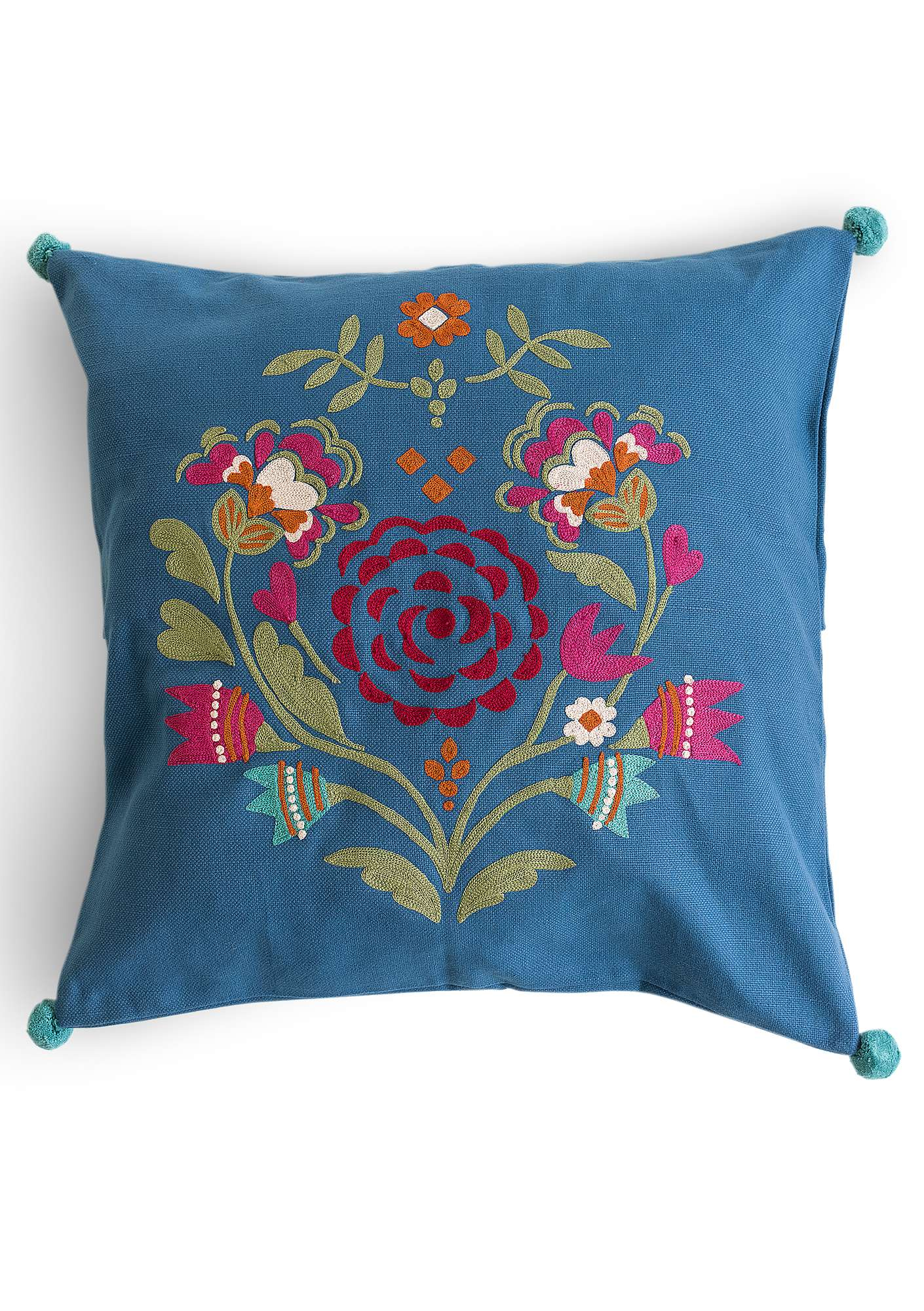 """Småland"" eco-cotton cushion cover flax blue"