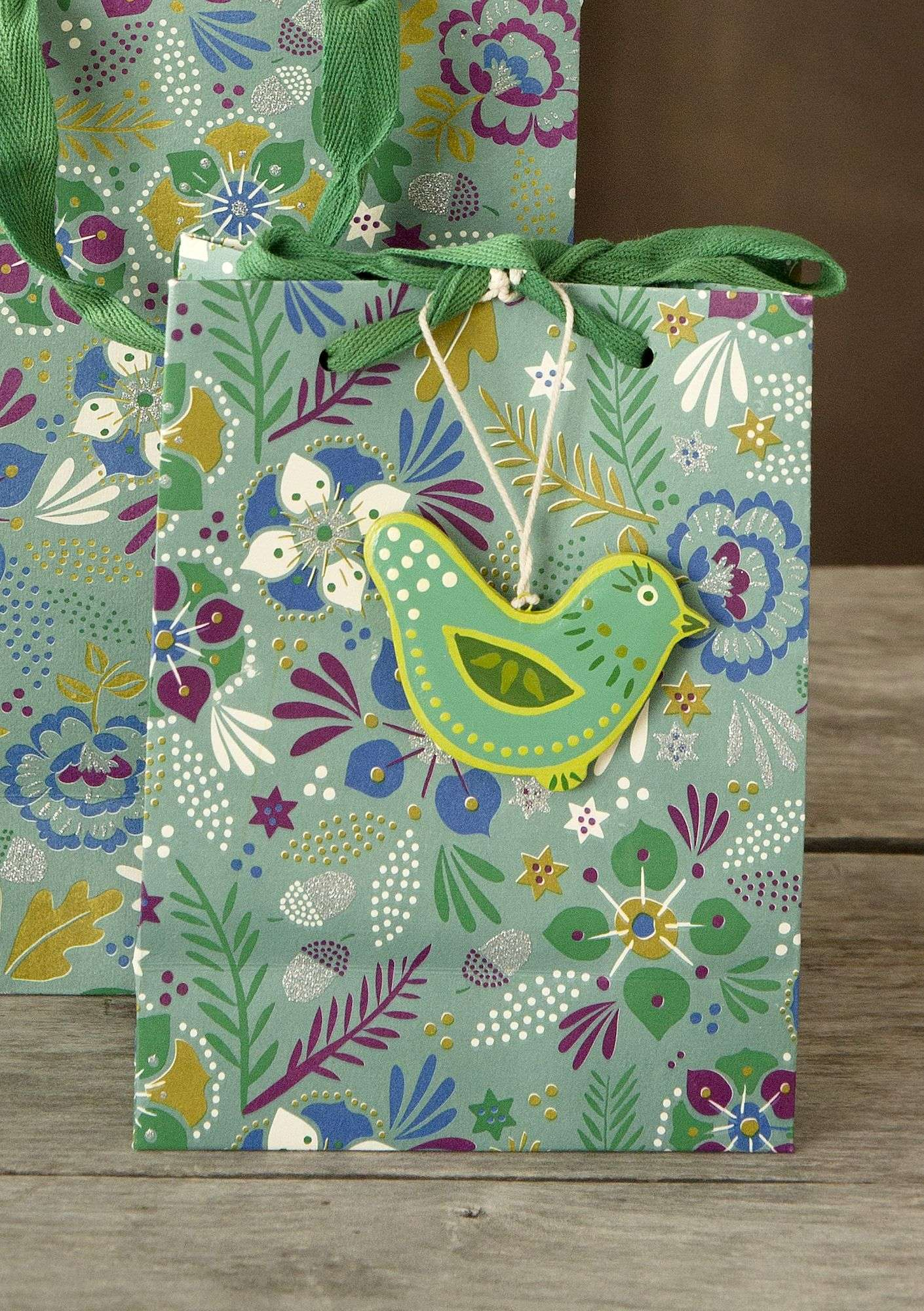 "Small ""Pingla"" paper gift bag turquoise"