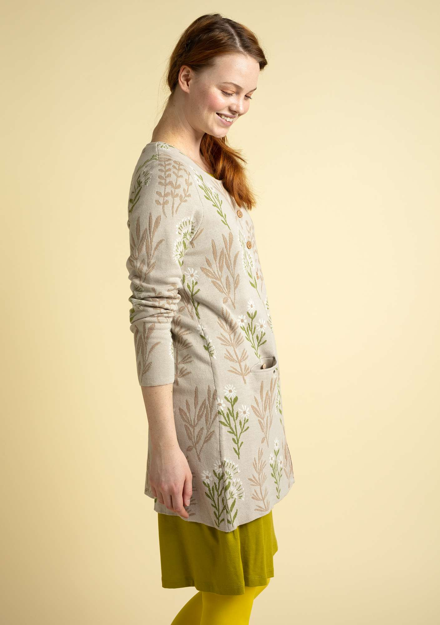 """Botanik"" cardigan in organic cotton natural"