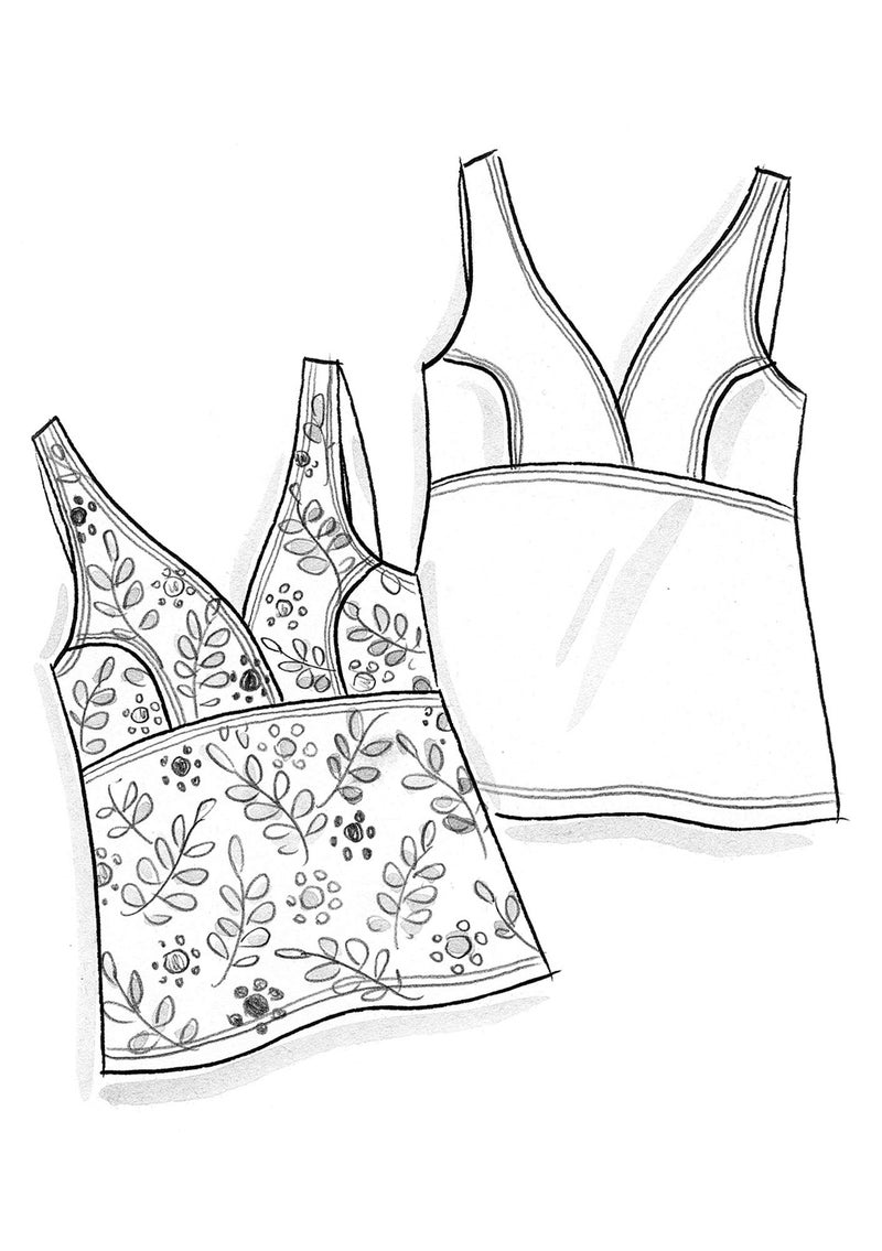 """Waterlily"" tankini top in nylon/spandex black"