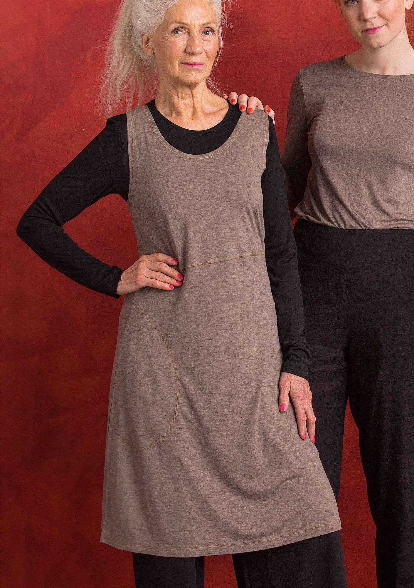 Ärmelloses Kleid natural grey melange