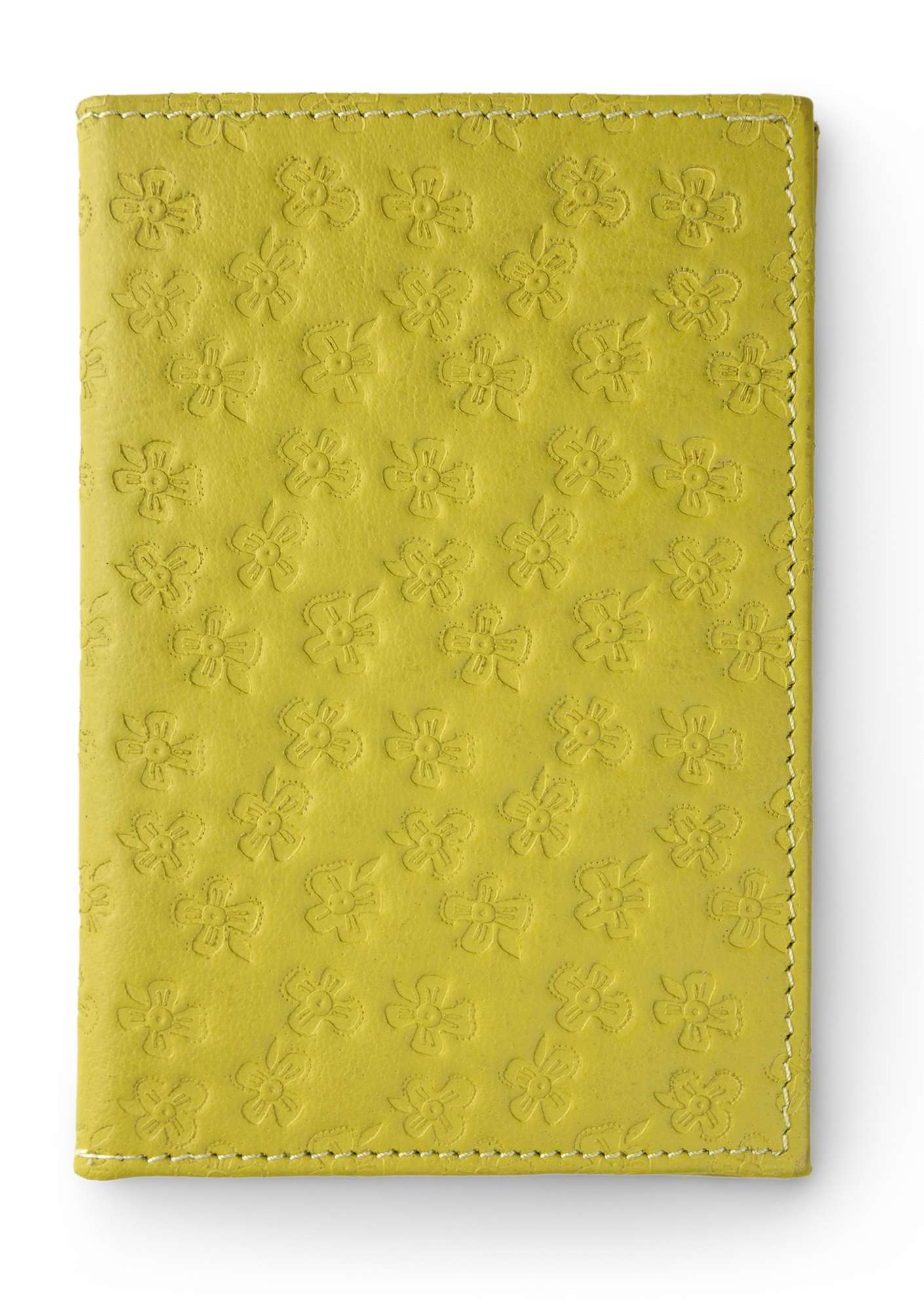Leather passport cover leaf green