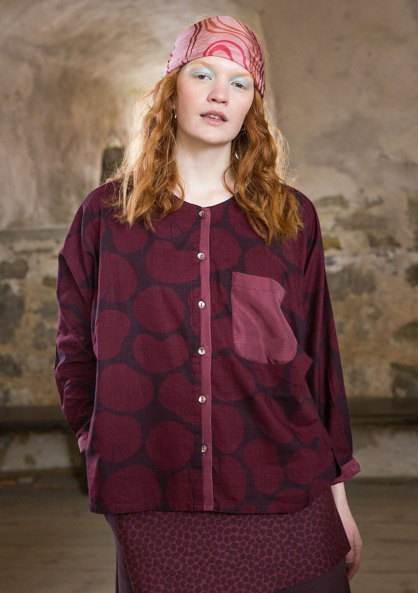 """Soil"" shirt in eco-cotton/silk dark aubergine"
