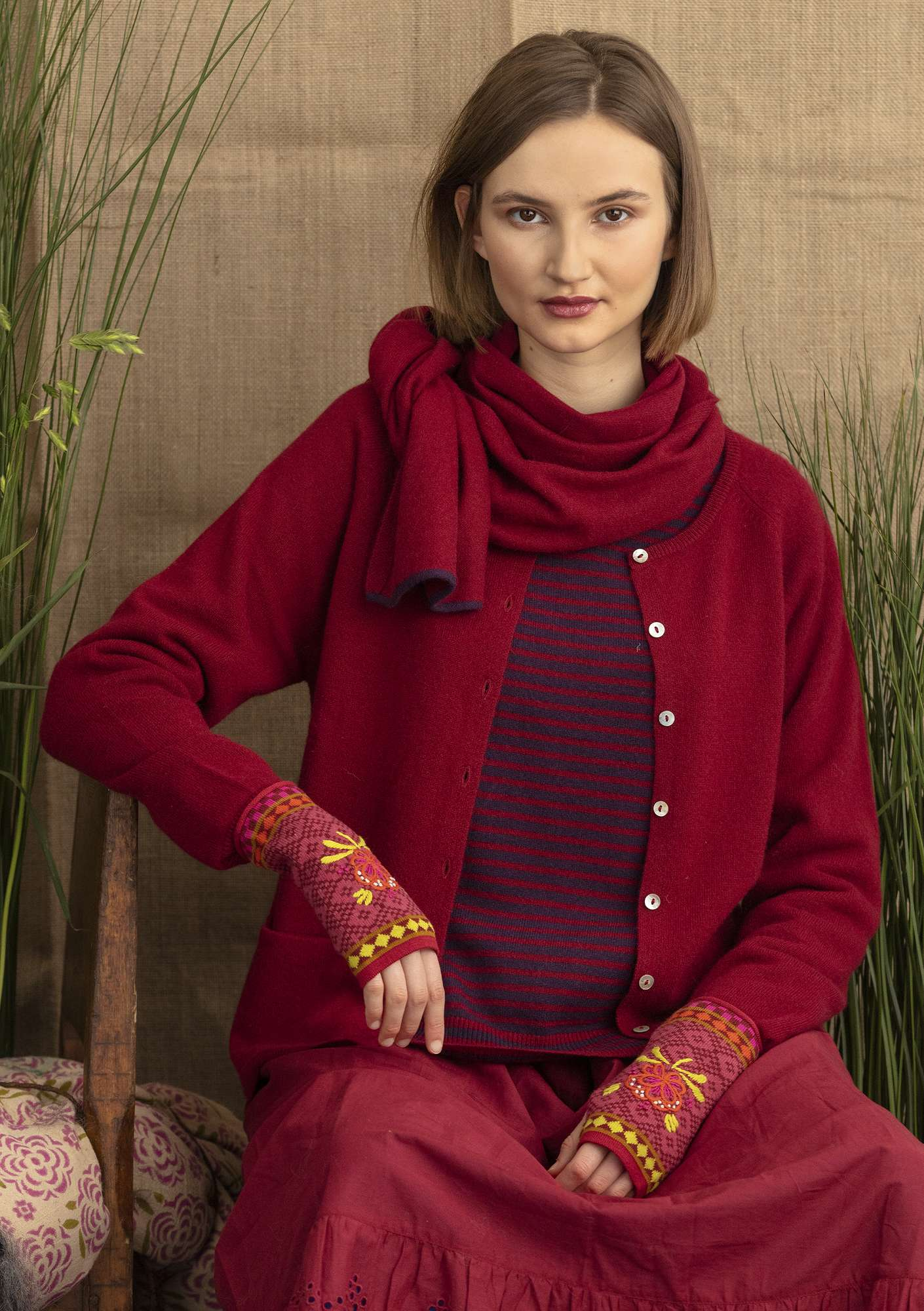 Strickjacke aus Kaschmirwolle cranberry/solid colour