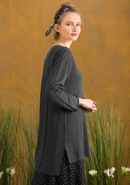 Linen knit fabric tunic dark ash grey