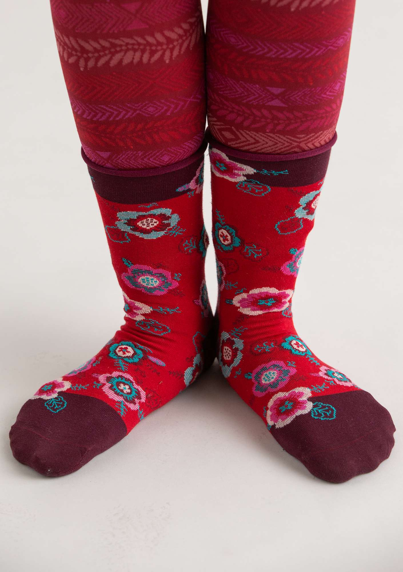 """Liz"" socks in organic cotton agate red"