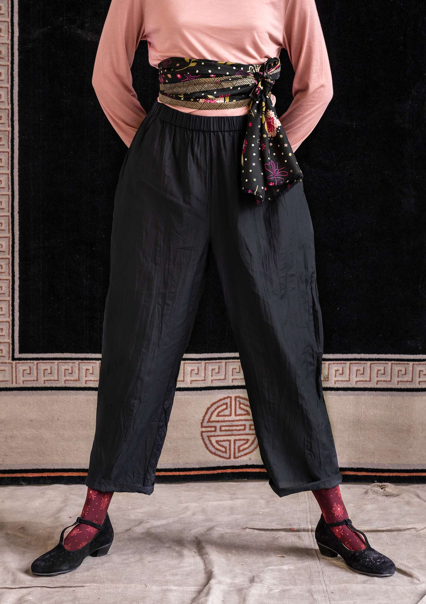 Pants in cotton/silk black