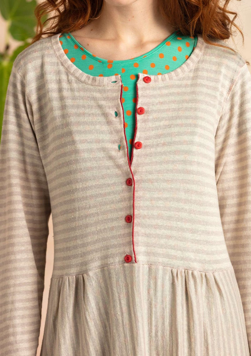 Stripe-knit dress crafted from organic linen dark natural