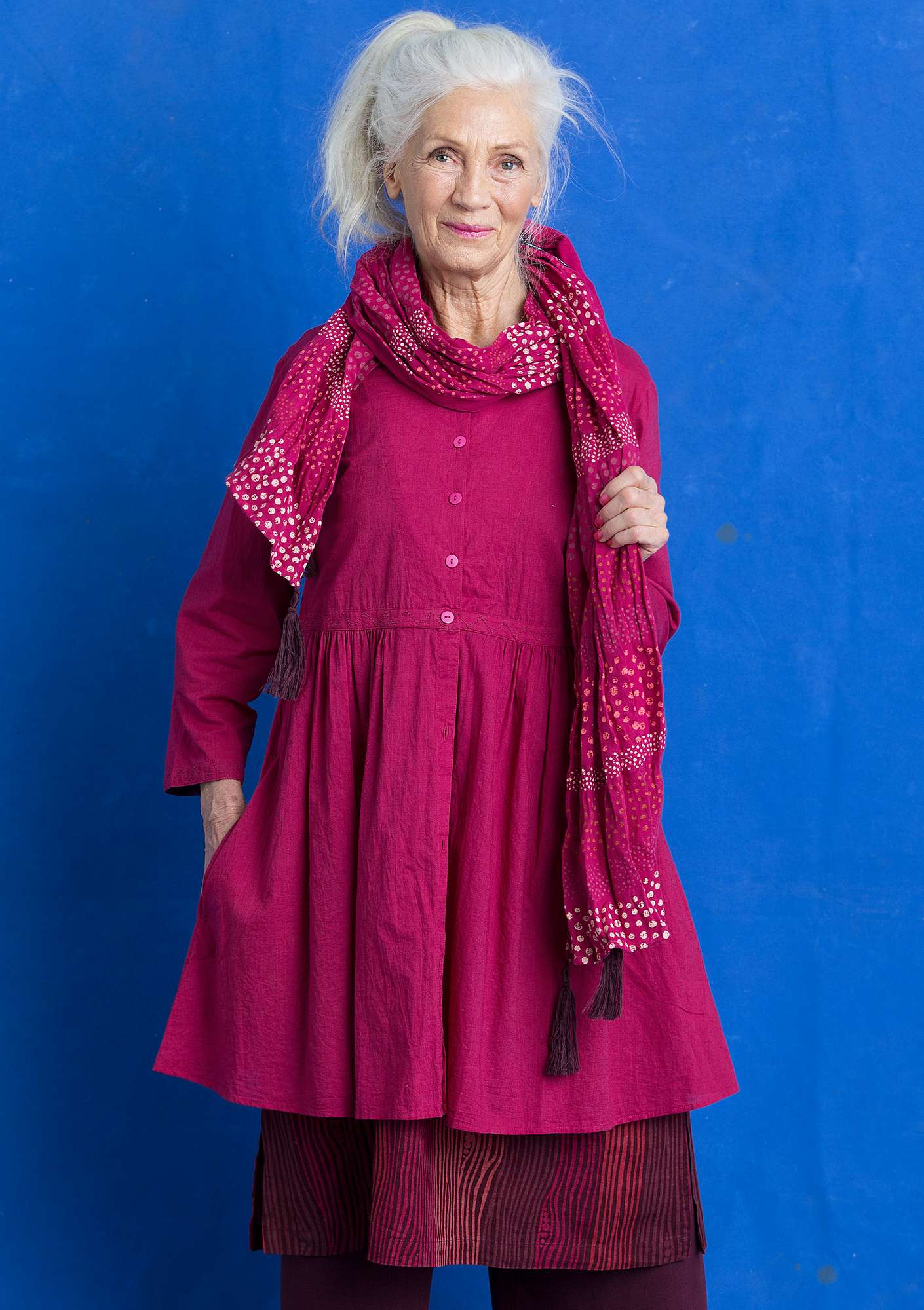 Tunic in eco-cotton cyclamen