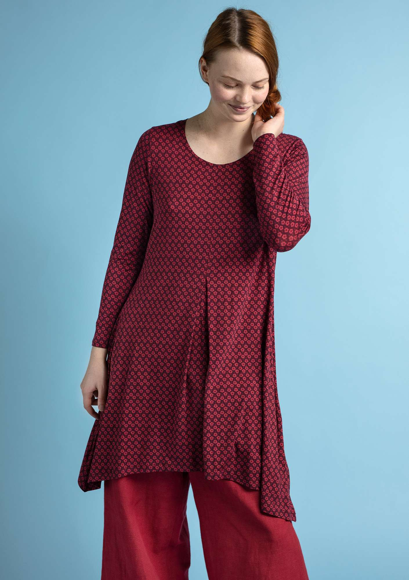 """Myrten"" tunic in lyocell/elastane beetroot"