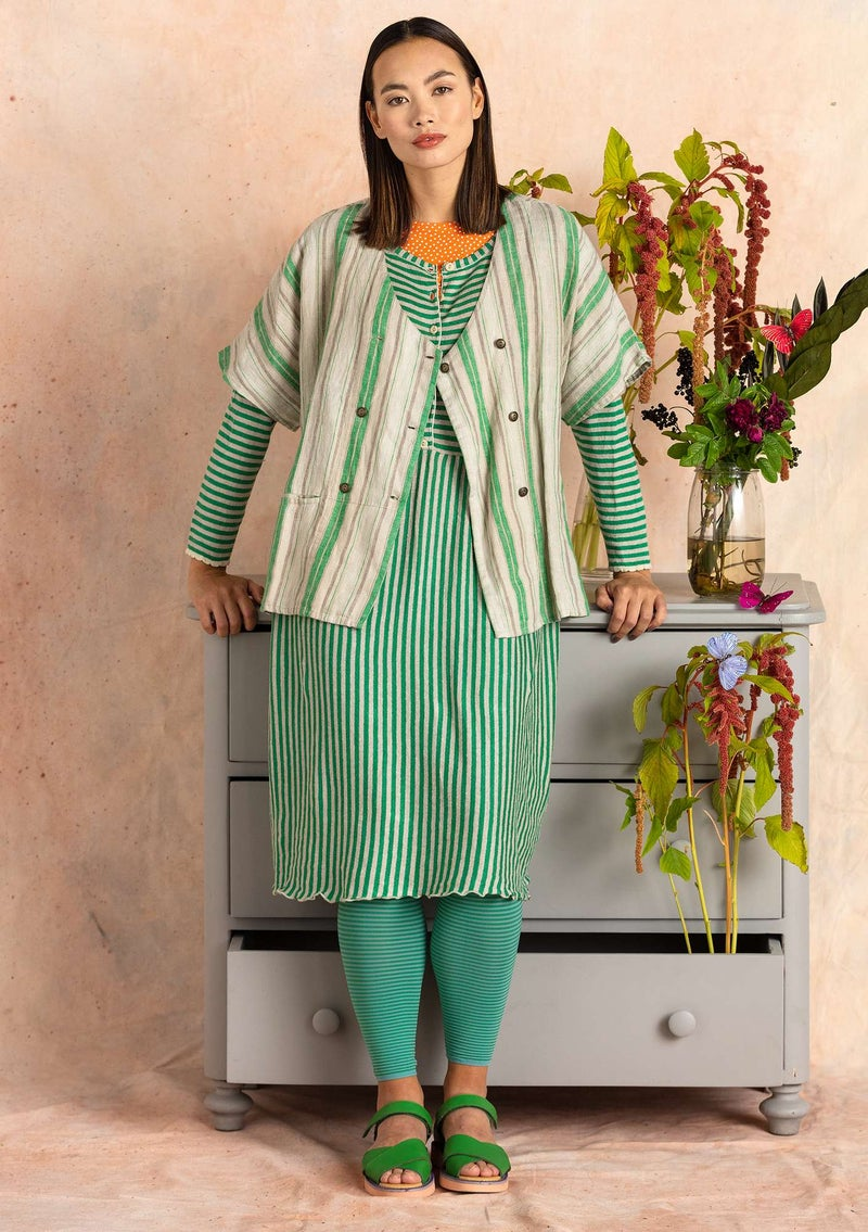 Stripe-knit dress crafted from organic linen dark emerald