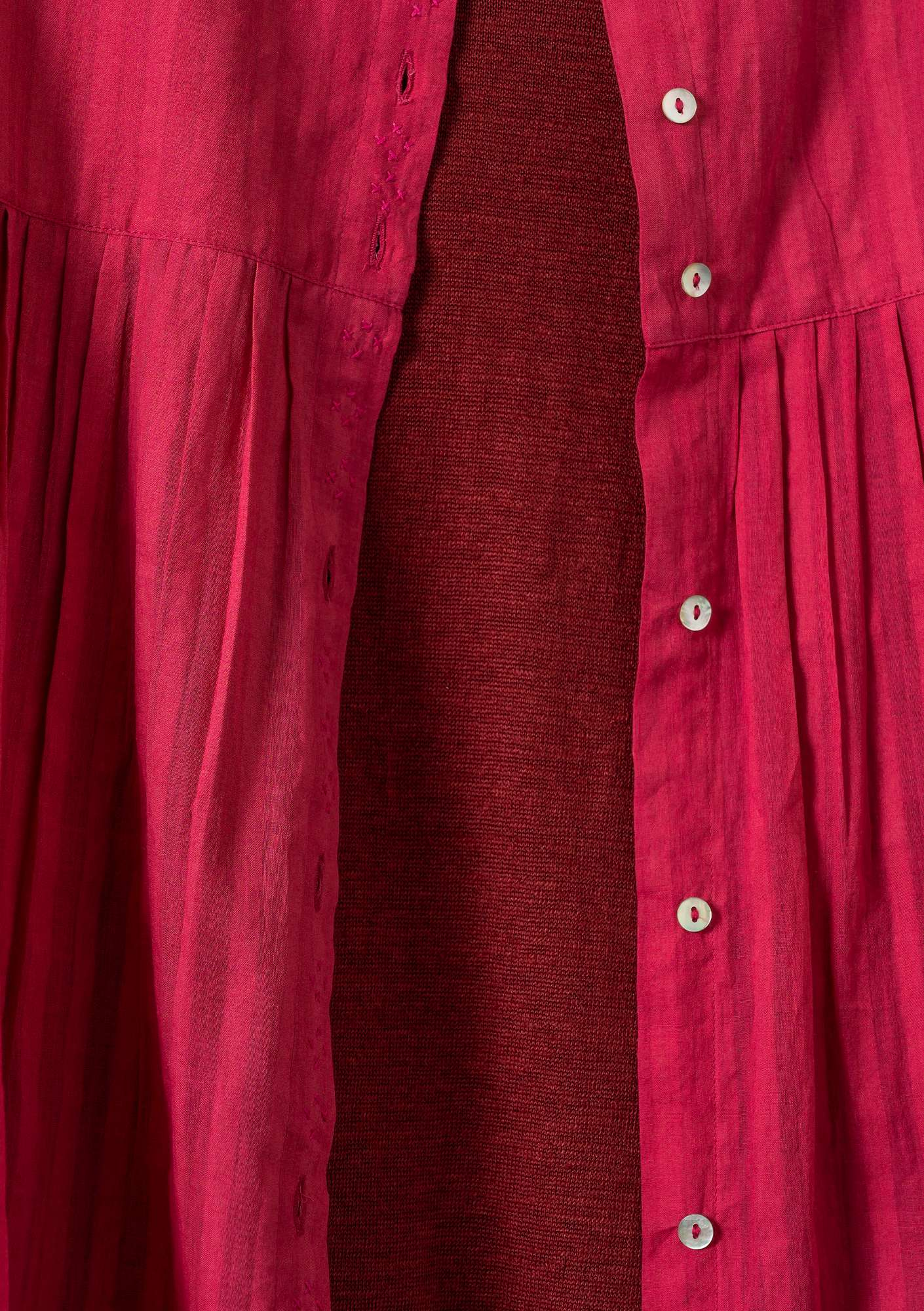 Blouse in cotton khadi rosewood