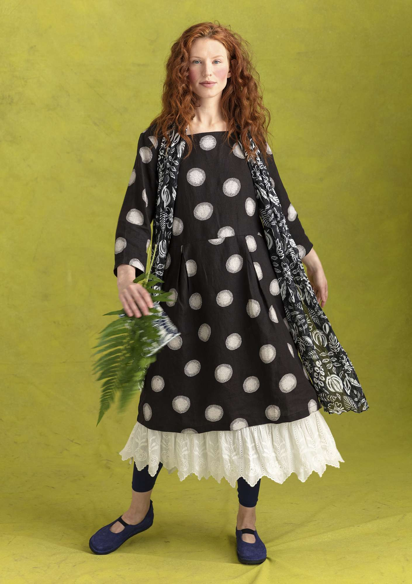 """Sia"" linen dress black/patterned"