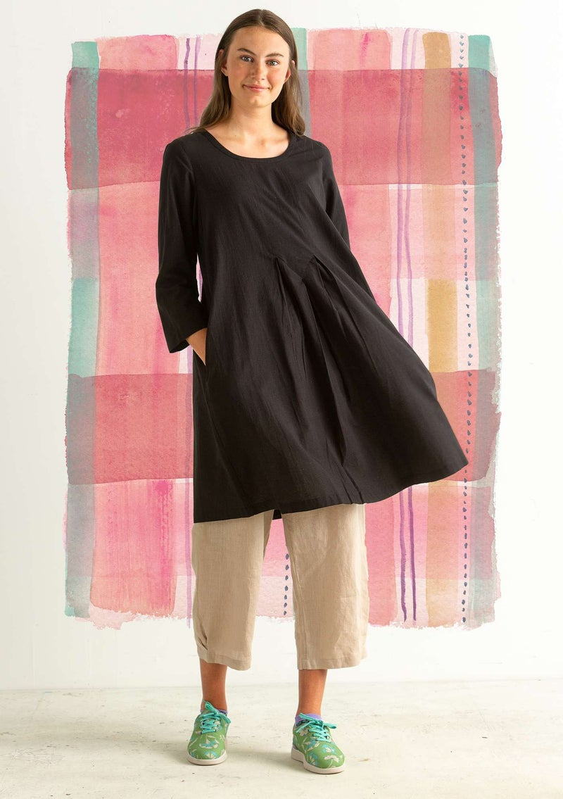 """Rut"" organic cotton/linen dress black"