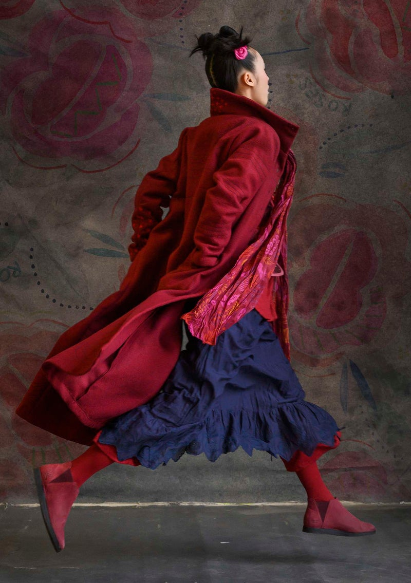 """Orion"" long wool coat pomegranate"