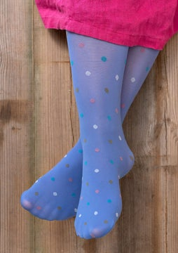 Dotted knee-highs sky blue