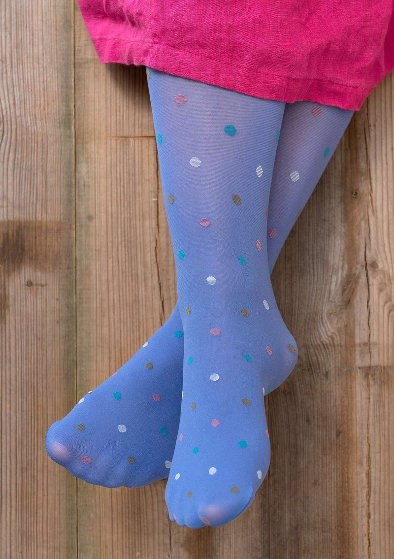 Dotted knee-highs in recycled polyamide sky blue