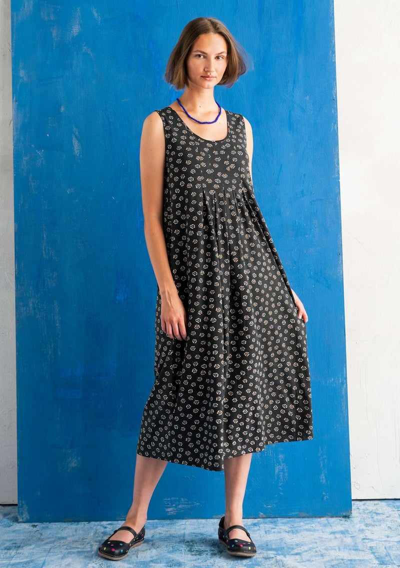 """Himmel"" organic cotton/modal jersey dress  black/patterned"