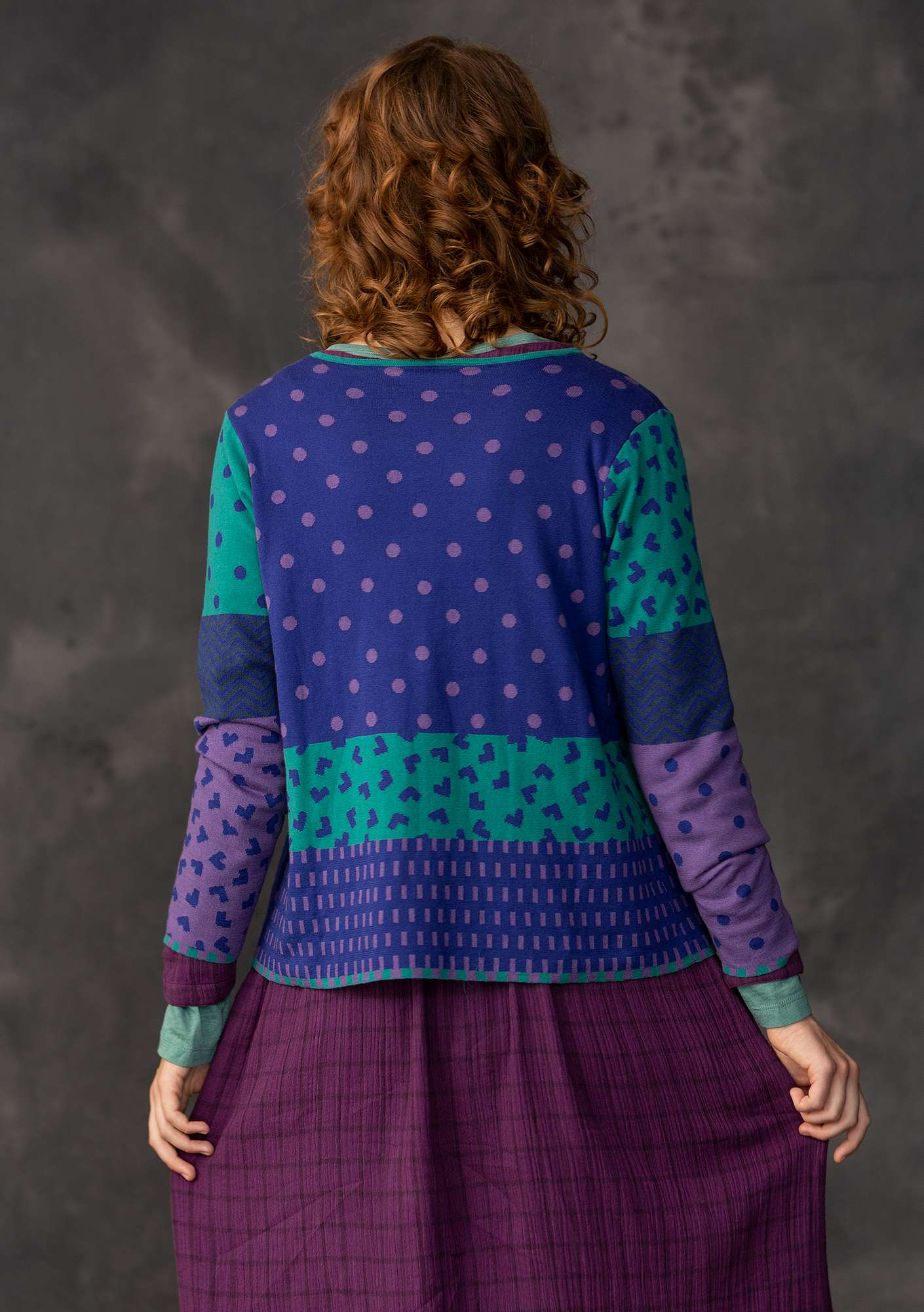 """Victoria"" cardigan made of organic cotton remnants cobalt blue"