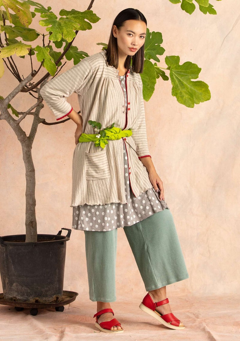 Stripe-knit smock blouse crafted from organic linen dark natural