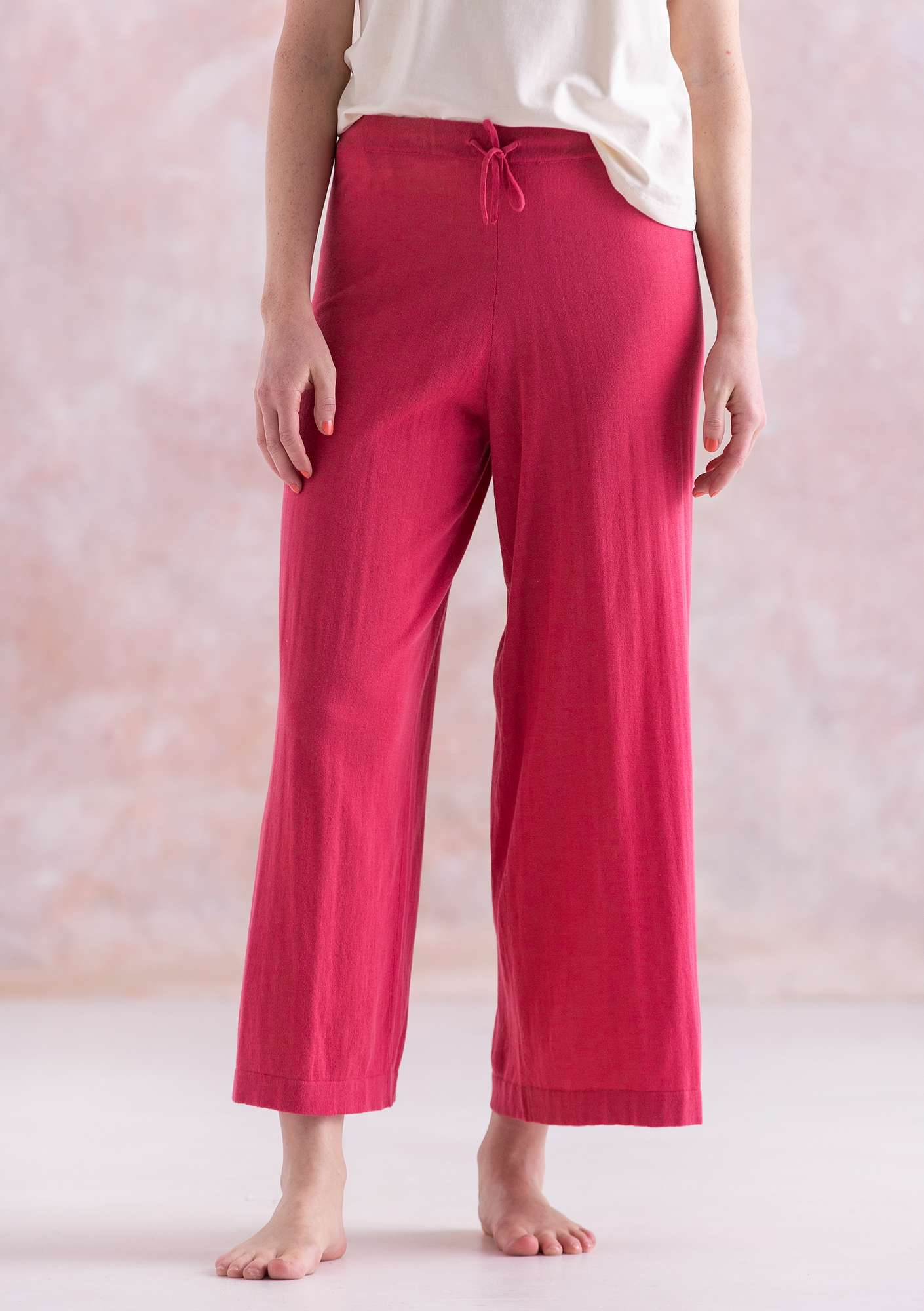 Fine-knit eco-cotton pants coral