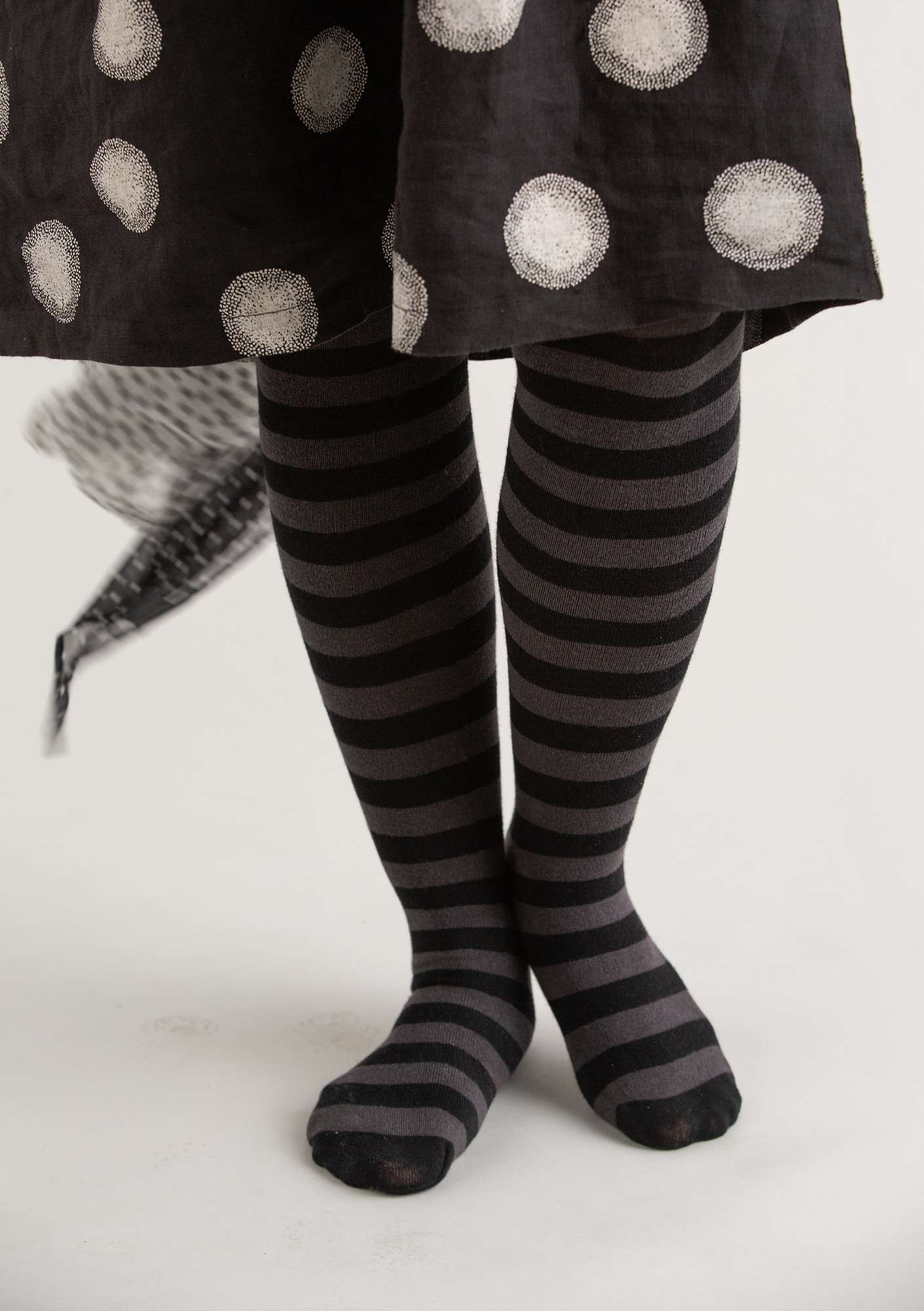 Block-striped tights in organic cotton black/ash grey